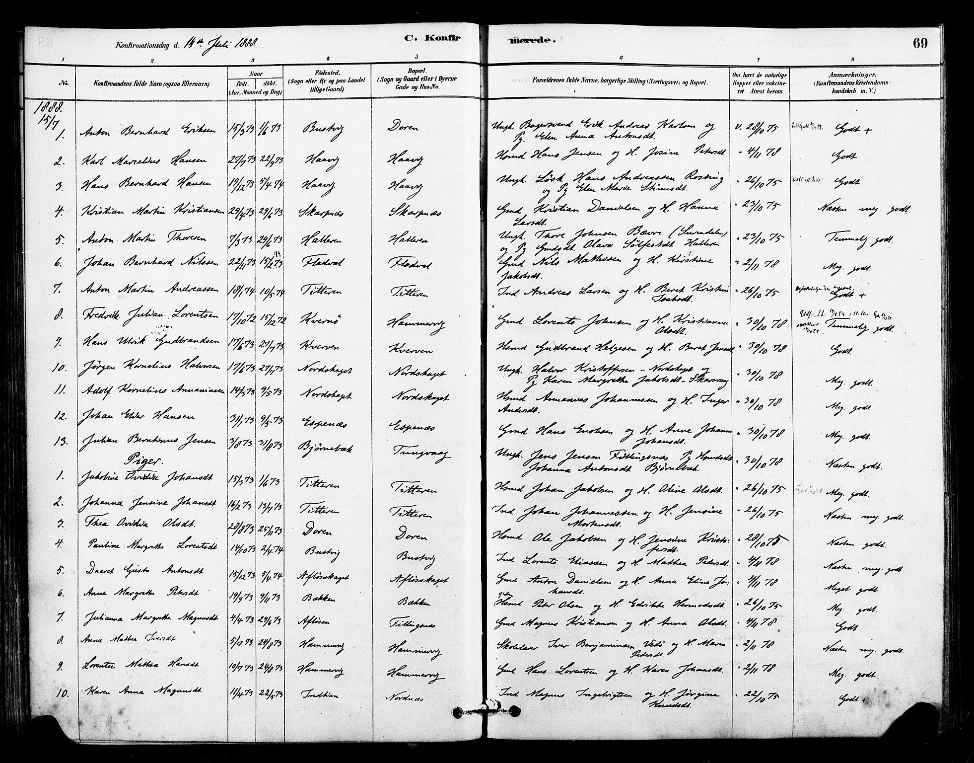 SAT, Ministerialprotokoller, klokkerbøker og fødselsregistre - Sør-Trøndelag, 641/L0595: Ministerialbok nr. 641A01, 1882-1897, s. 69