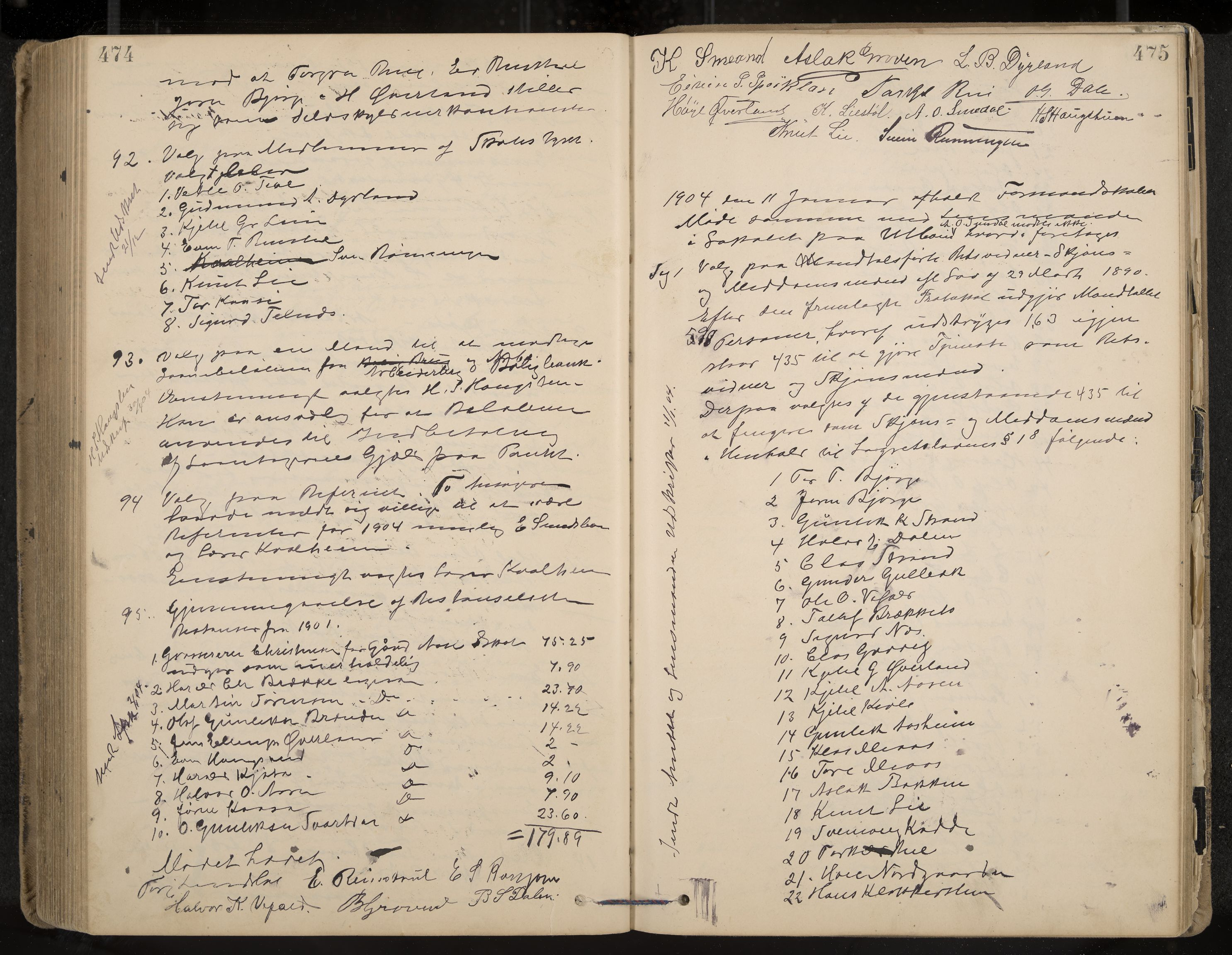 IKAK, Seljord formannskap og sentraladministrasjon, A/Aa/L0003: Møtebok med register, 1891-1905, s. 474-475