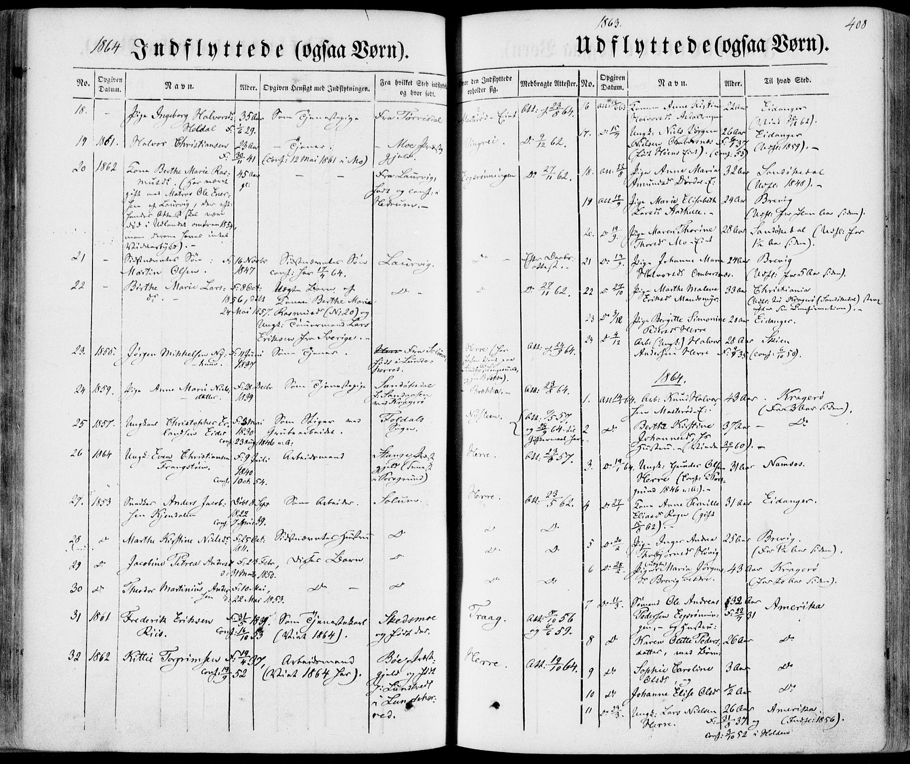 SAKO, Bamble kirkebøker, F/Fa/L0005: Ministerialbok nr. I 5, 1854-1869, s. 408