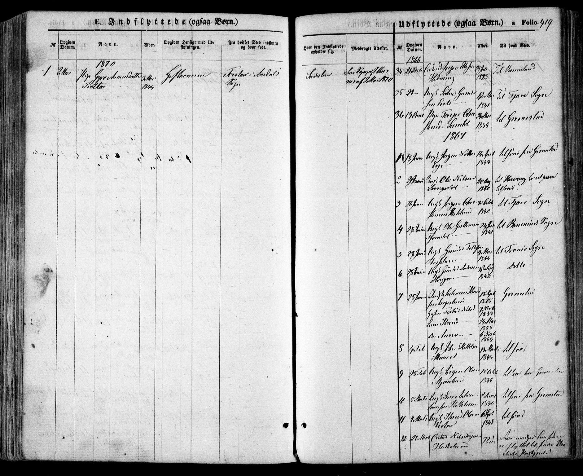 SAK, Evje sokneprestkontor, F/Fa/Faa/L0006: Ministerialbok nr. A 6, 1866-1884, s. 419