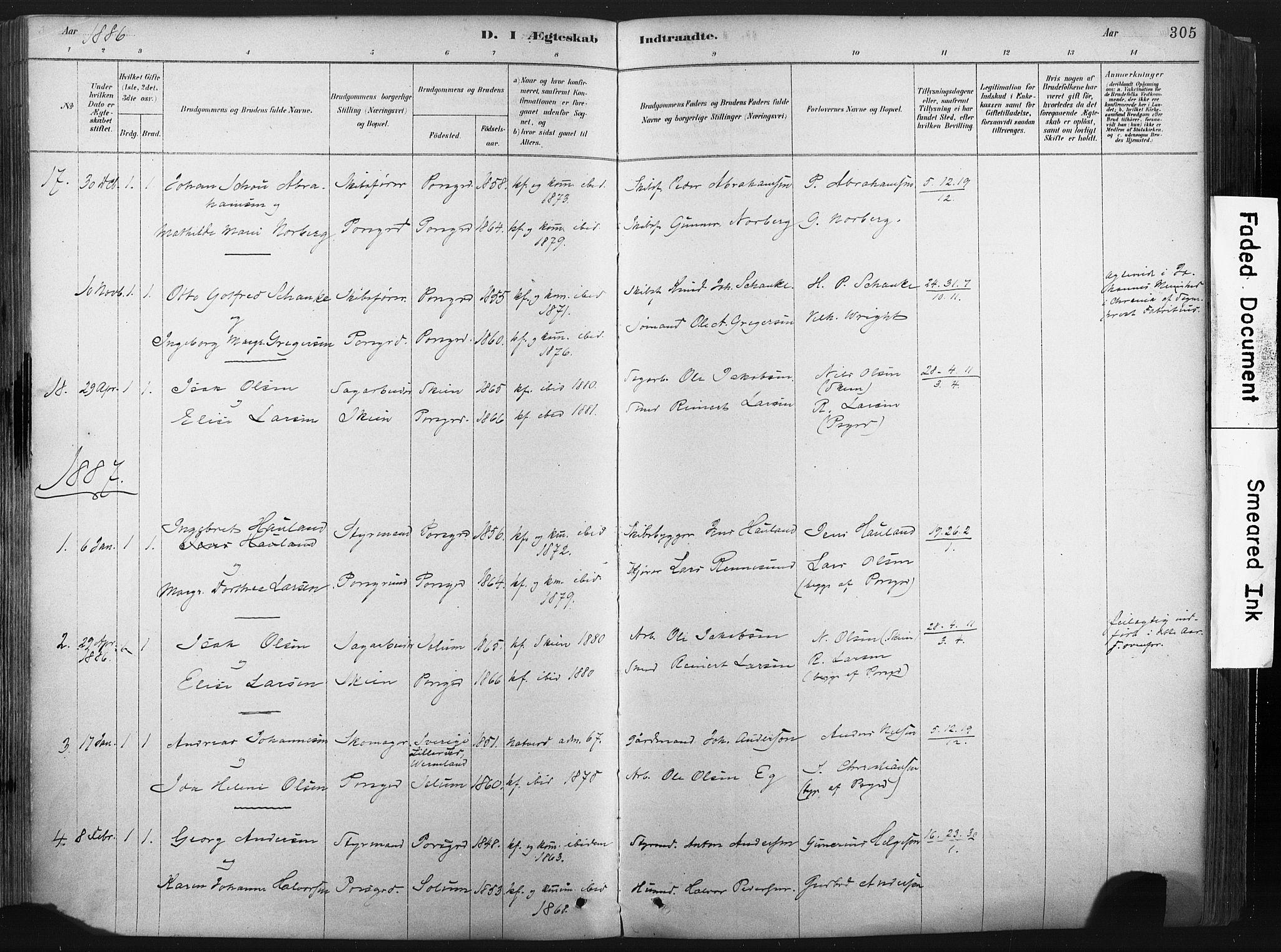 SAKO, Porsgrunn kirkebøker , F/Fa/L0008: Ministerialbok nr. 8, 1878-1895, s. 305