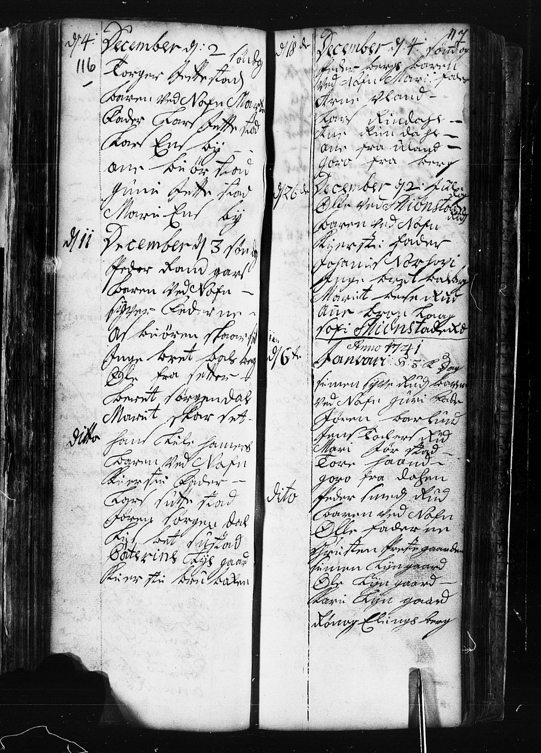 SAH, Fåberg prestekontor, Klokkerbok nr. 1, 1727-1767, s. 116-117
