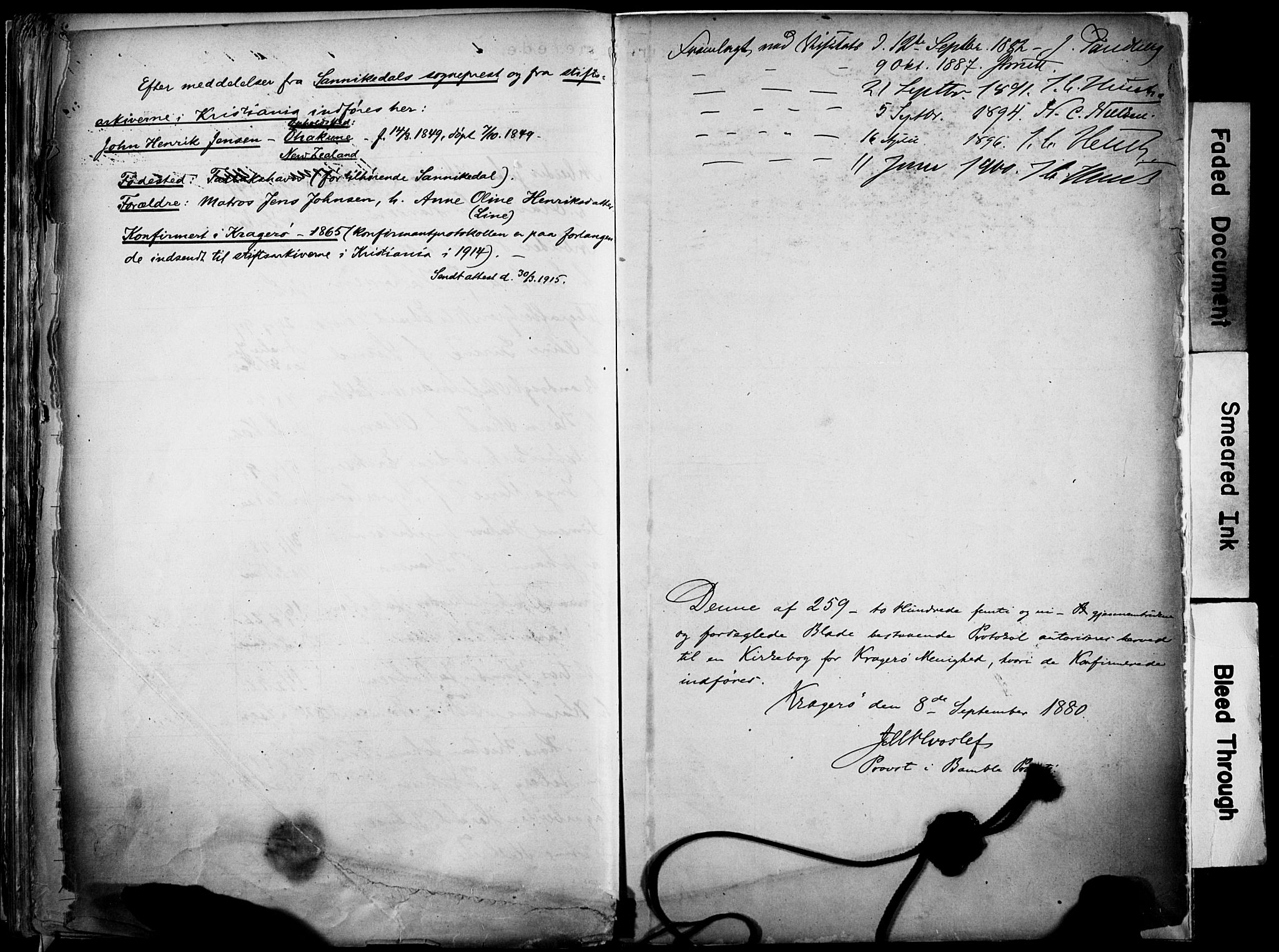 SAKO, Kragerø kirkebøker, F/Fa/L0012: Ministerialbok nr. I 12, 1880-1904