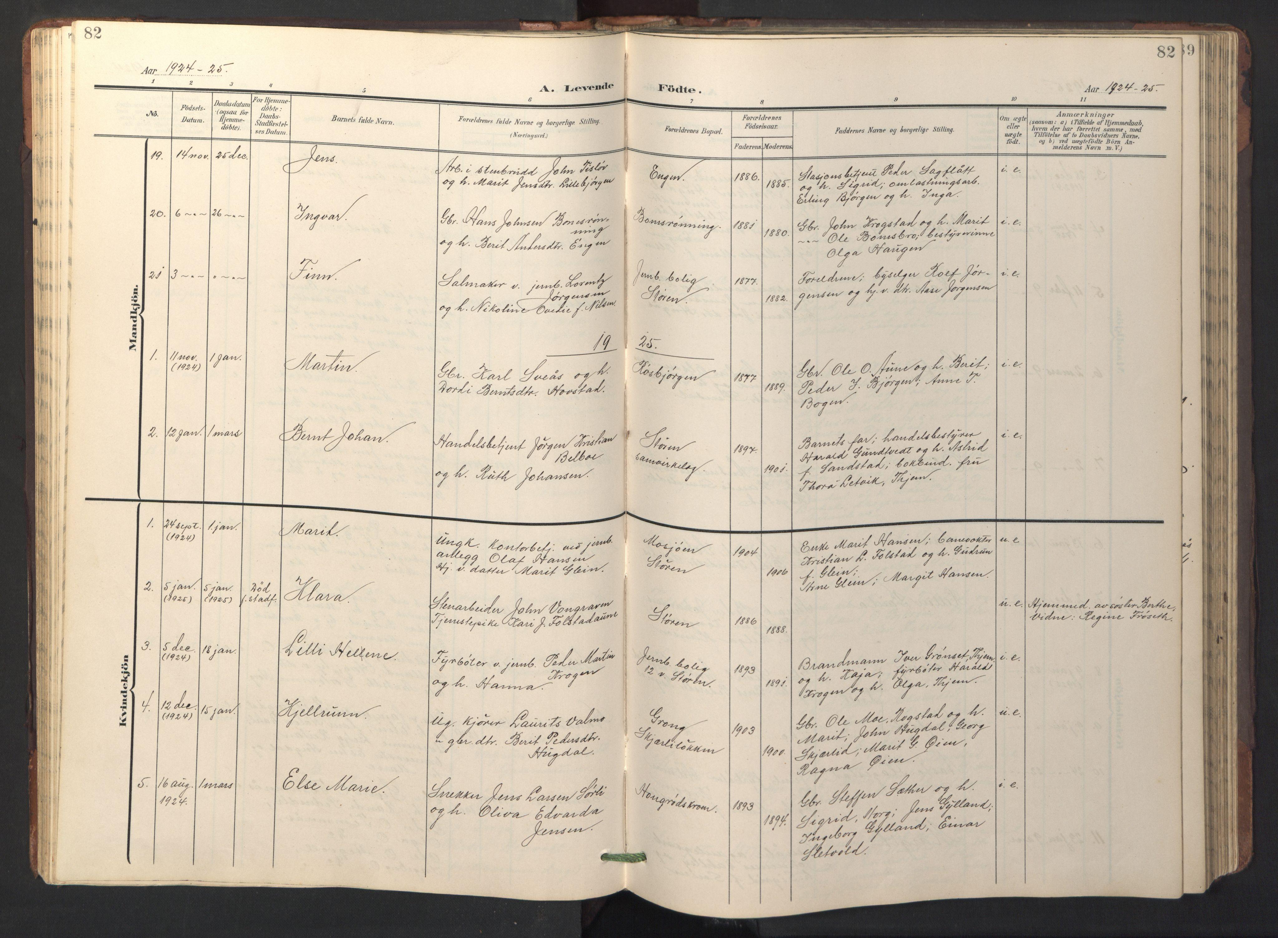 SAT, Ministerialprotokoller, klokkerbøker og fødselsregistre - Sør-Trøndelag, 687/L1019: Klokkerbok nr. 687C03, 1904-1931, s. 82