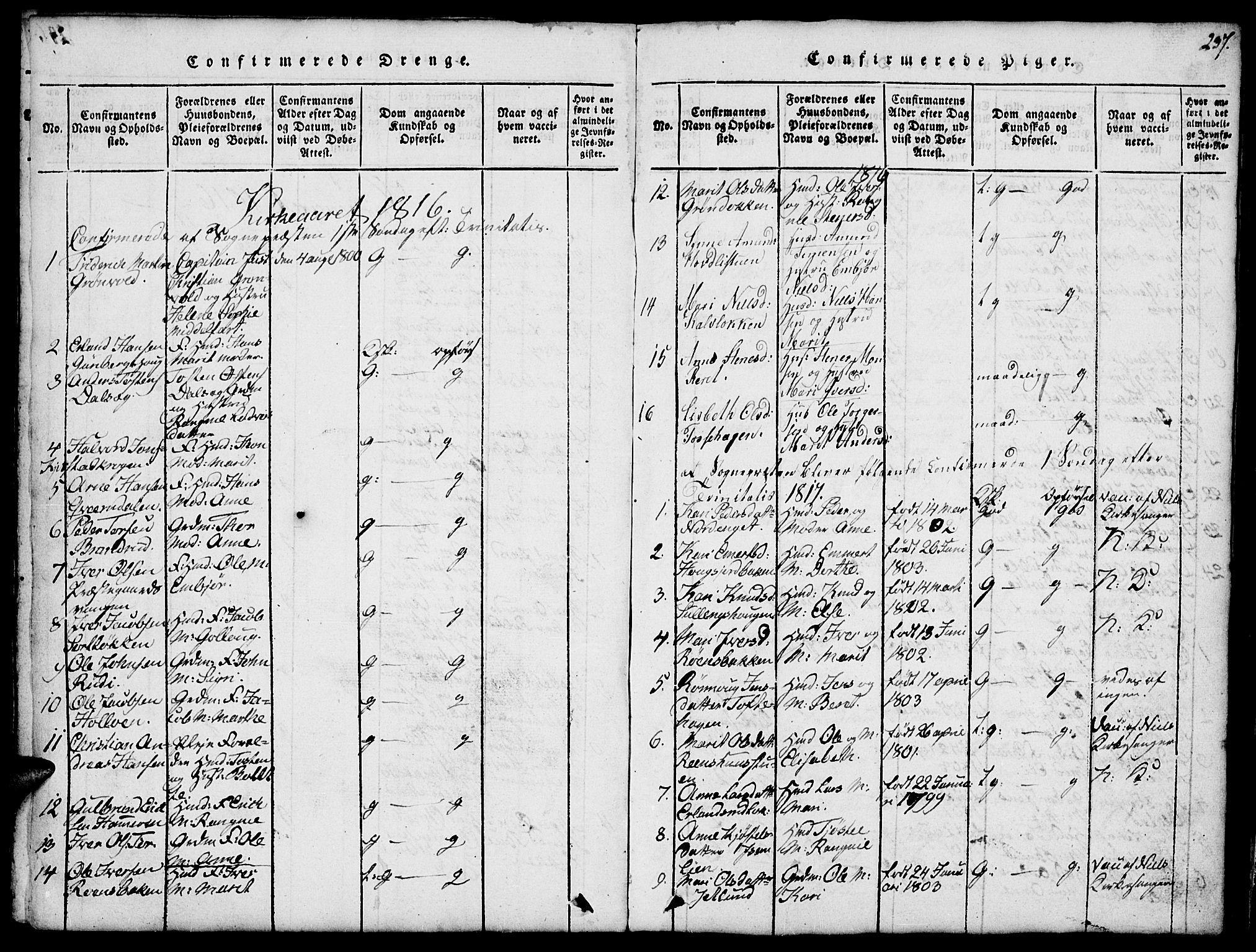 SAH, Fron prestekontor, H/Ha/Hab/L0001: Klokkerbok nr. 1, 1816-1843, s. 237