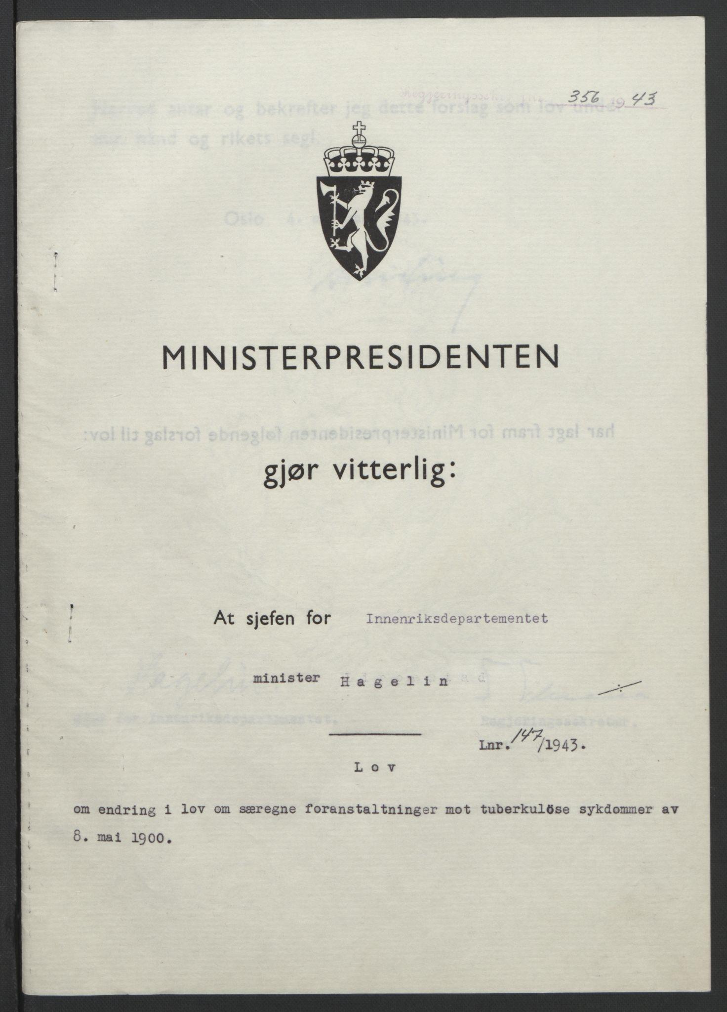 RA, NS-administrasjonen 1940-1945 (Statsrådsekretariatet, de kommisariske statsråder mm), D/Db/L0099: Lover, 1943, s. 688