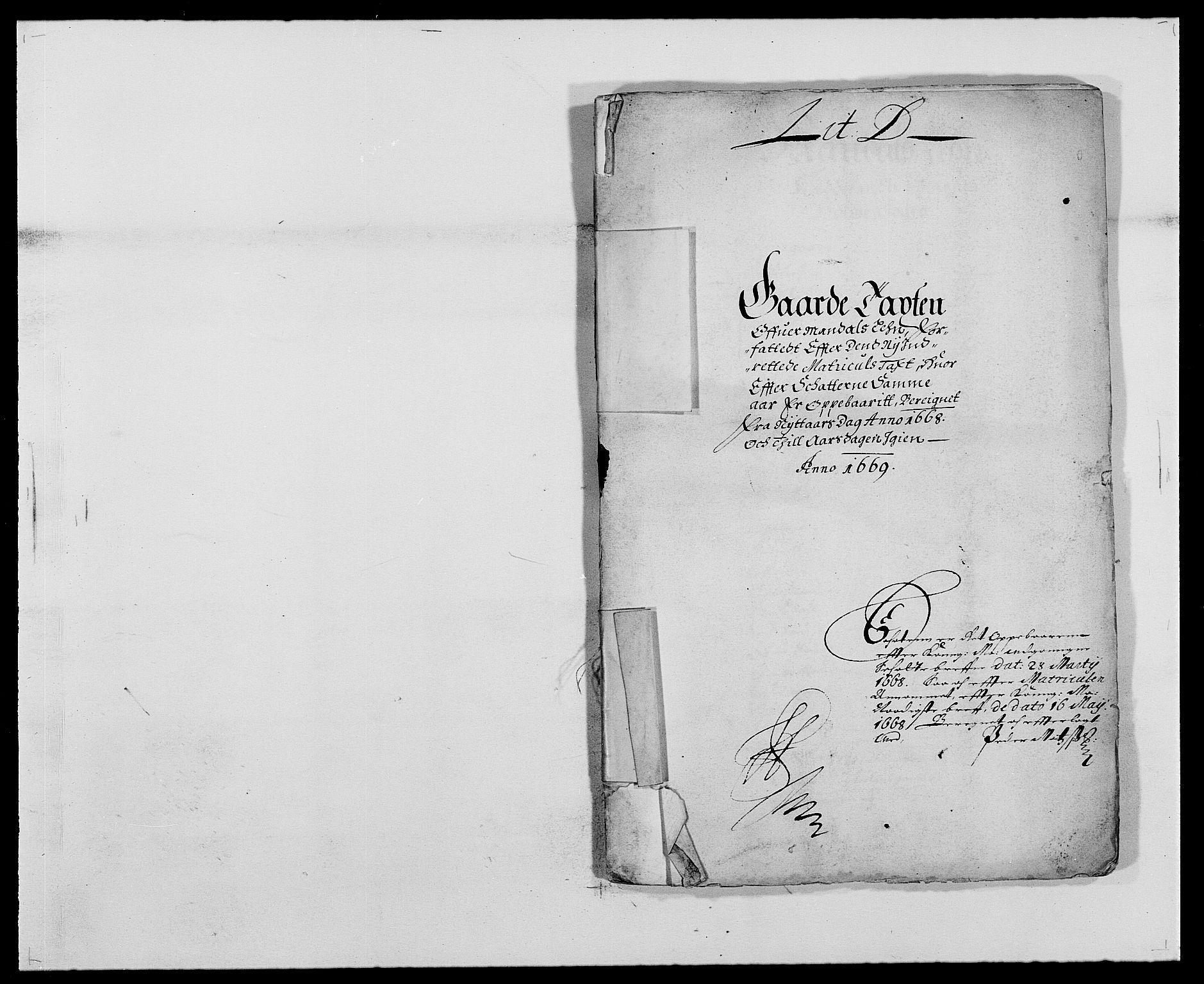 RA, Rentekammeret inntil 1814, Reviderte regnskaper, Fogderegnskap, R42/L2538: Mandal fogderi, 1667-1670, s. 69