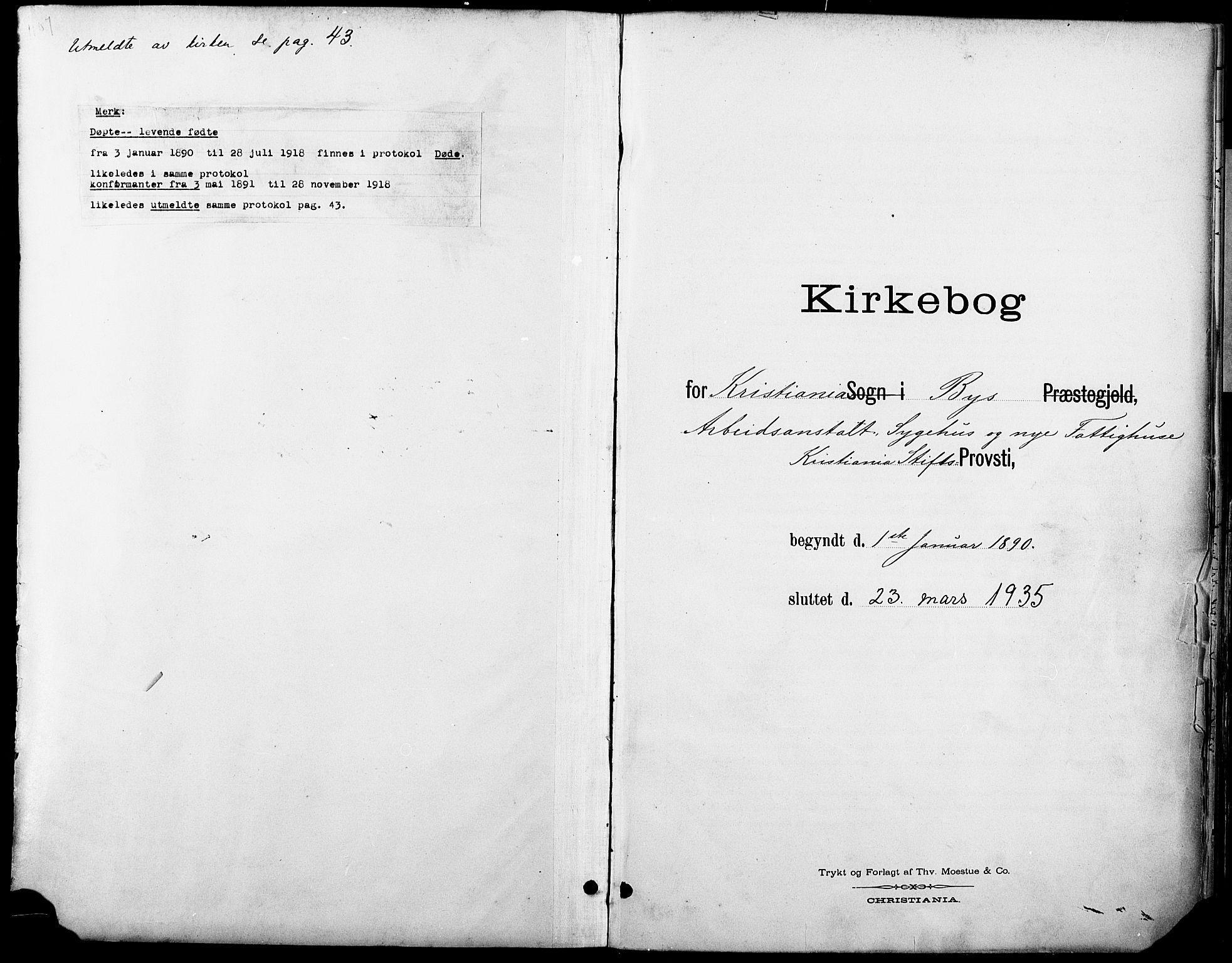 SAO, Krohgstøtten sykehusprest Kirkebøker, F/Fa/L0003: Ministerialbok nr. 3, 1890-1935