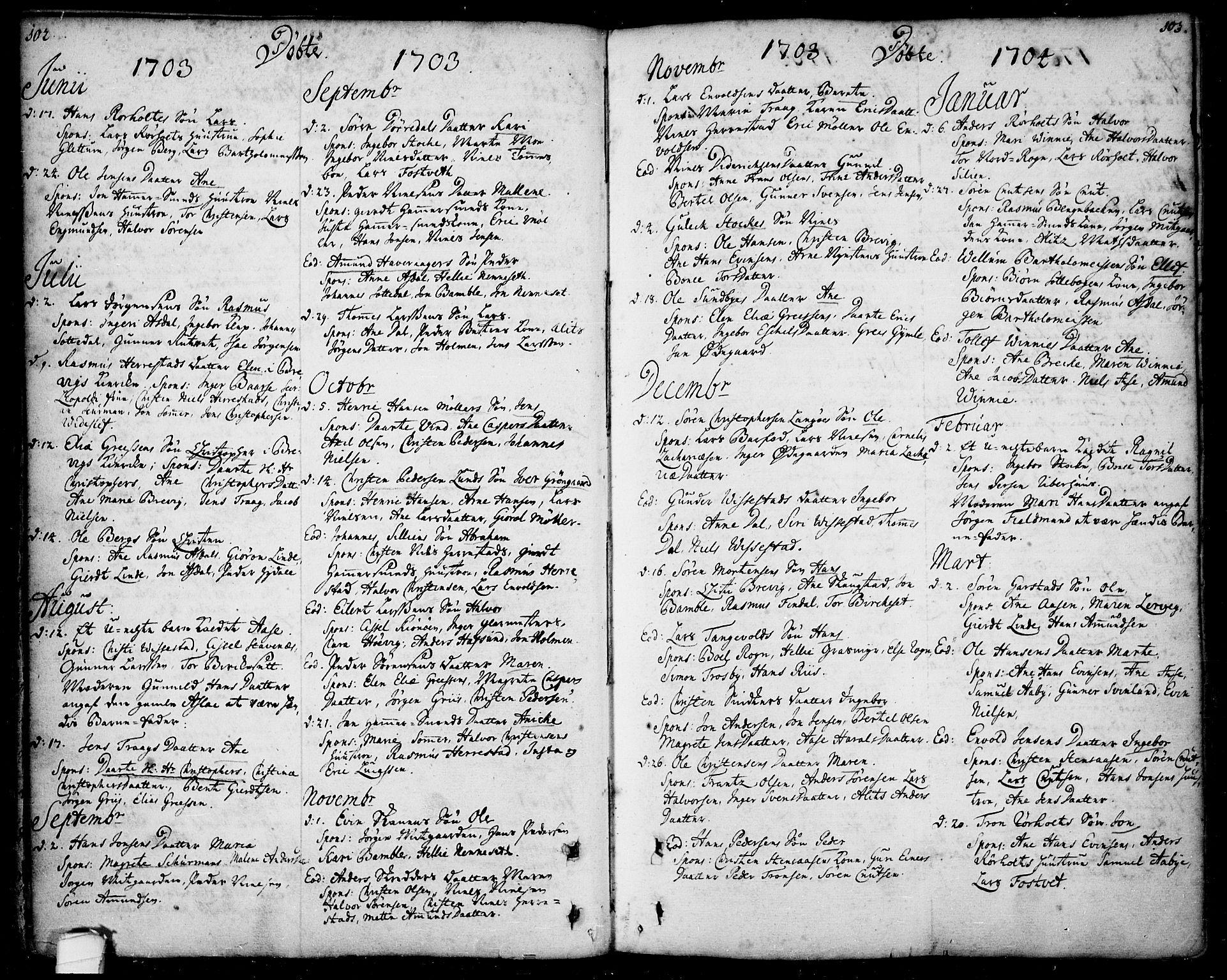 SAKO, Bamble kirkebøker, F/Fa/L0001: Ministerialbok nr. I 1, 1702-1774, s. 102-103