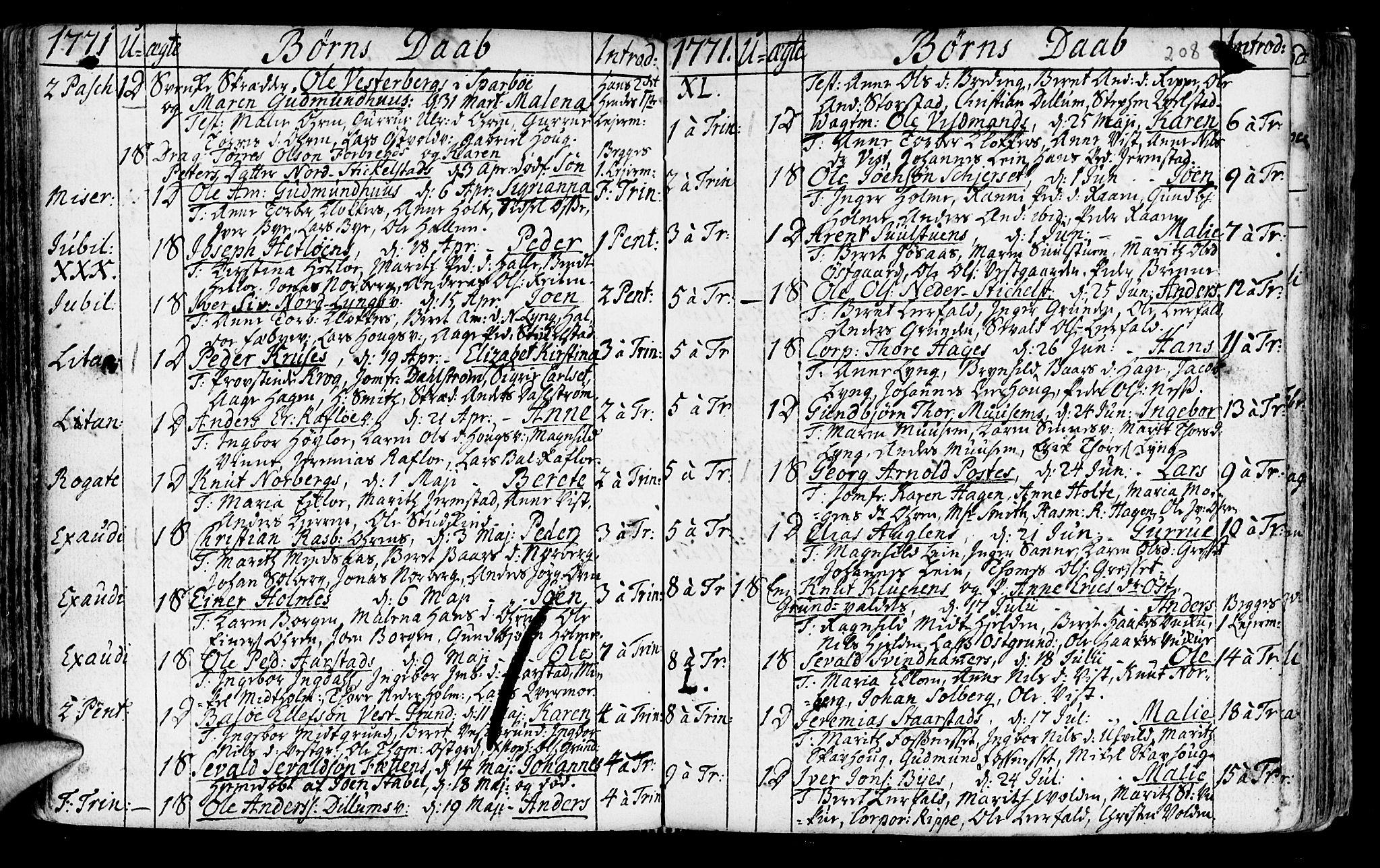 SAT, Ministerialprotokoller, klokkerbøker og fødselsregistre - Nord-Trøndelag, 723/L0231: Ministerialbok nr. 723A02, 1748-1780, s. 208