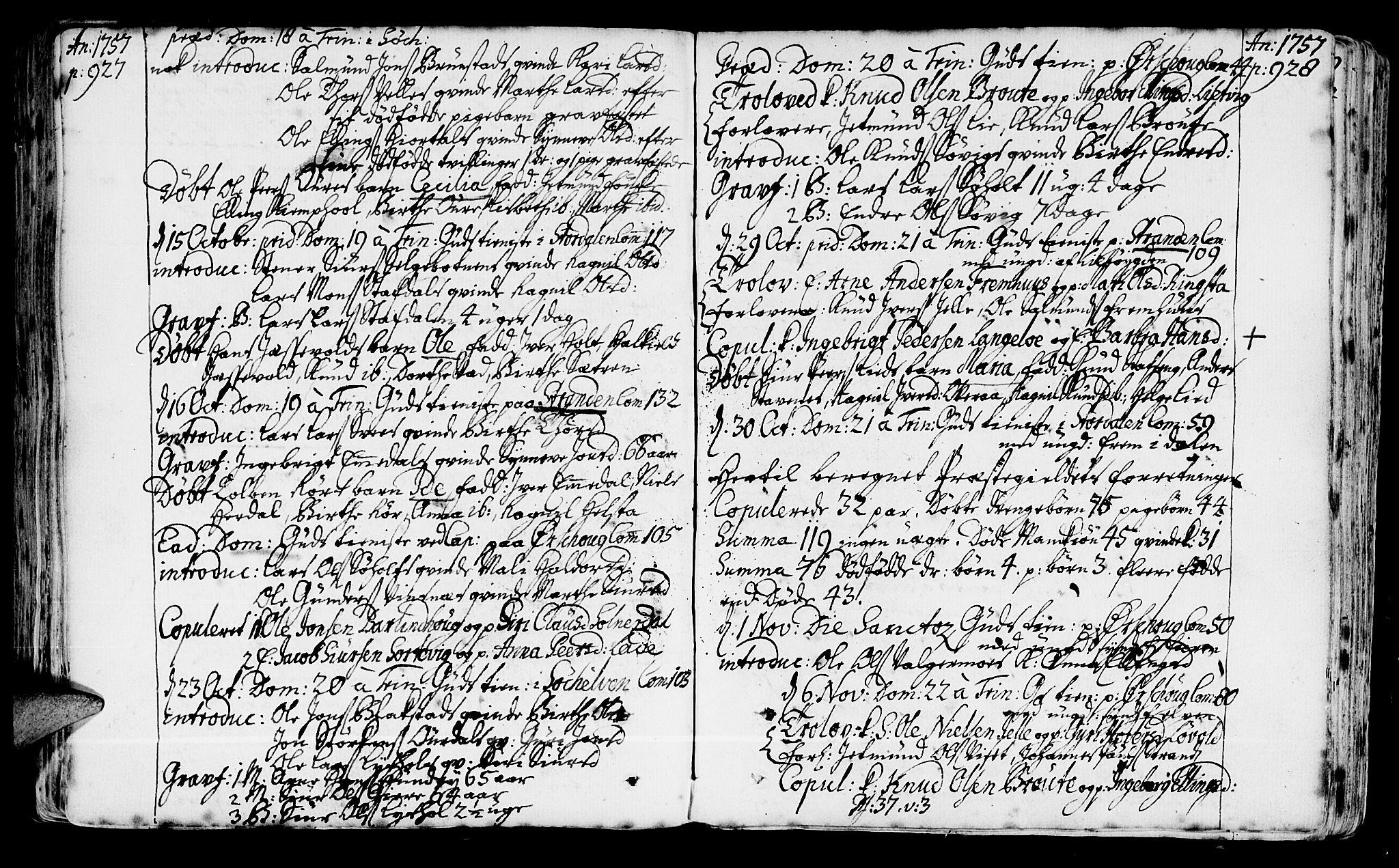 SAT, Ministerialprotokoller, klokkerbøker og fødselsregistre - Møre og Romsdal, 522/L0307: Ministerialbok nr. 522A02, 1743-1773, s. 927-928