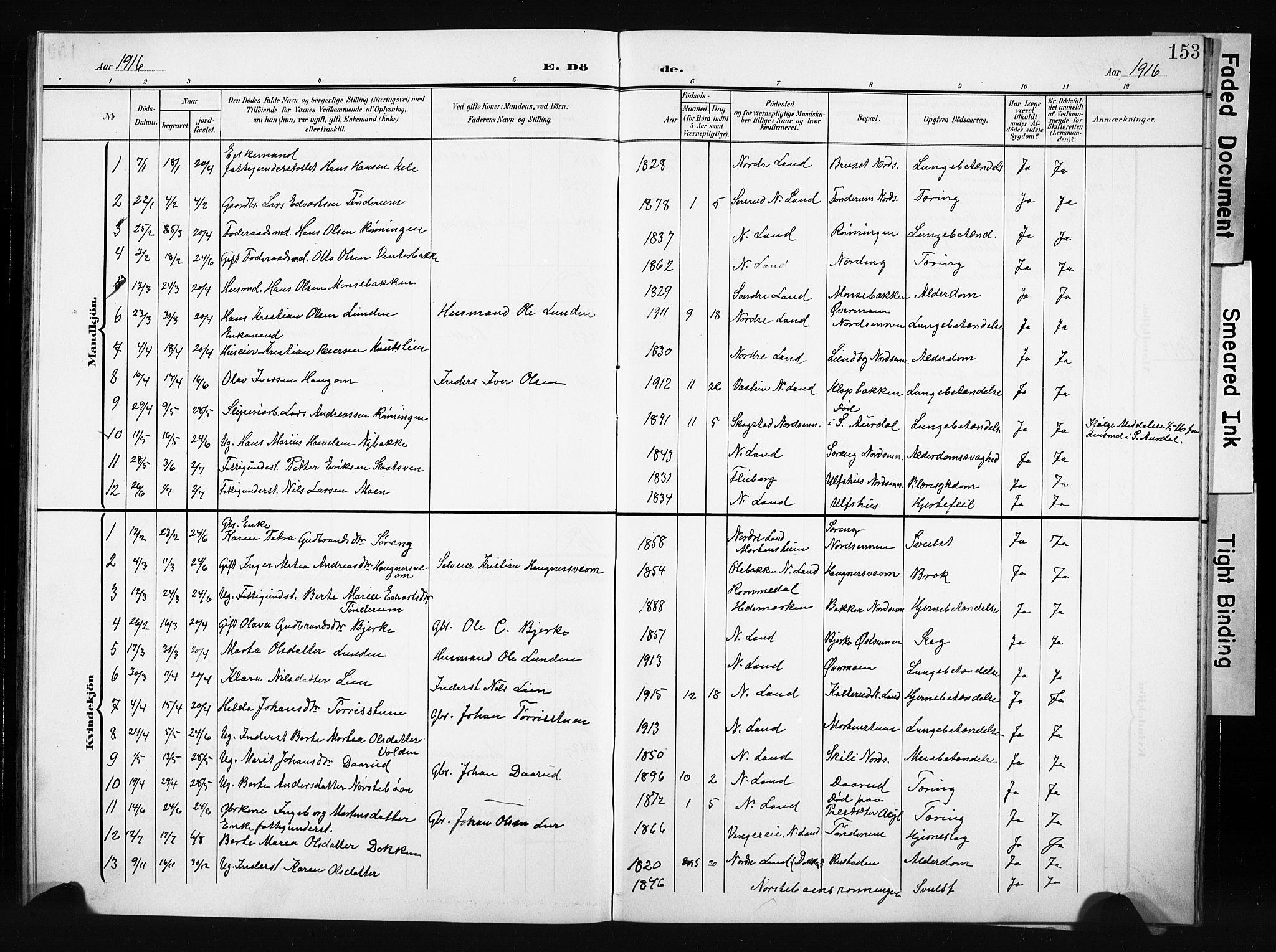 SAH, Nordre Land prestekontor, Klokkerbok nr. 6, 1905-1929, s. 153