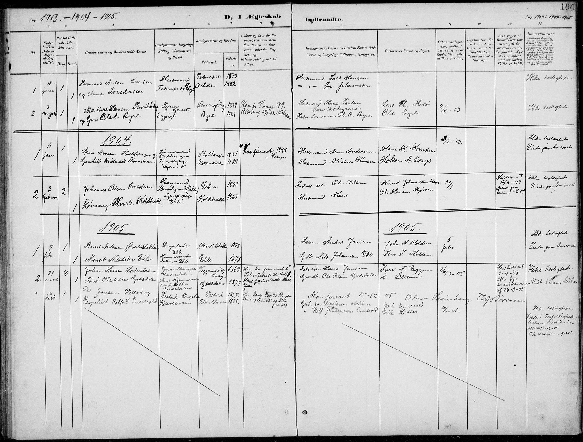 SAH, Lom prestekontor, L/L0006: Klokkerbok nr. 6, 1901-1939, s. 100
