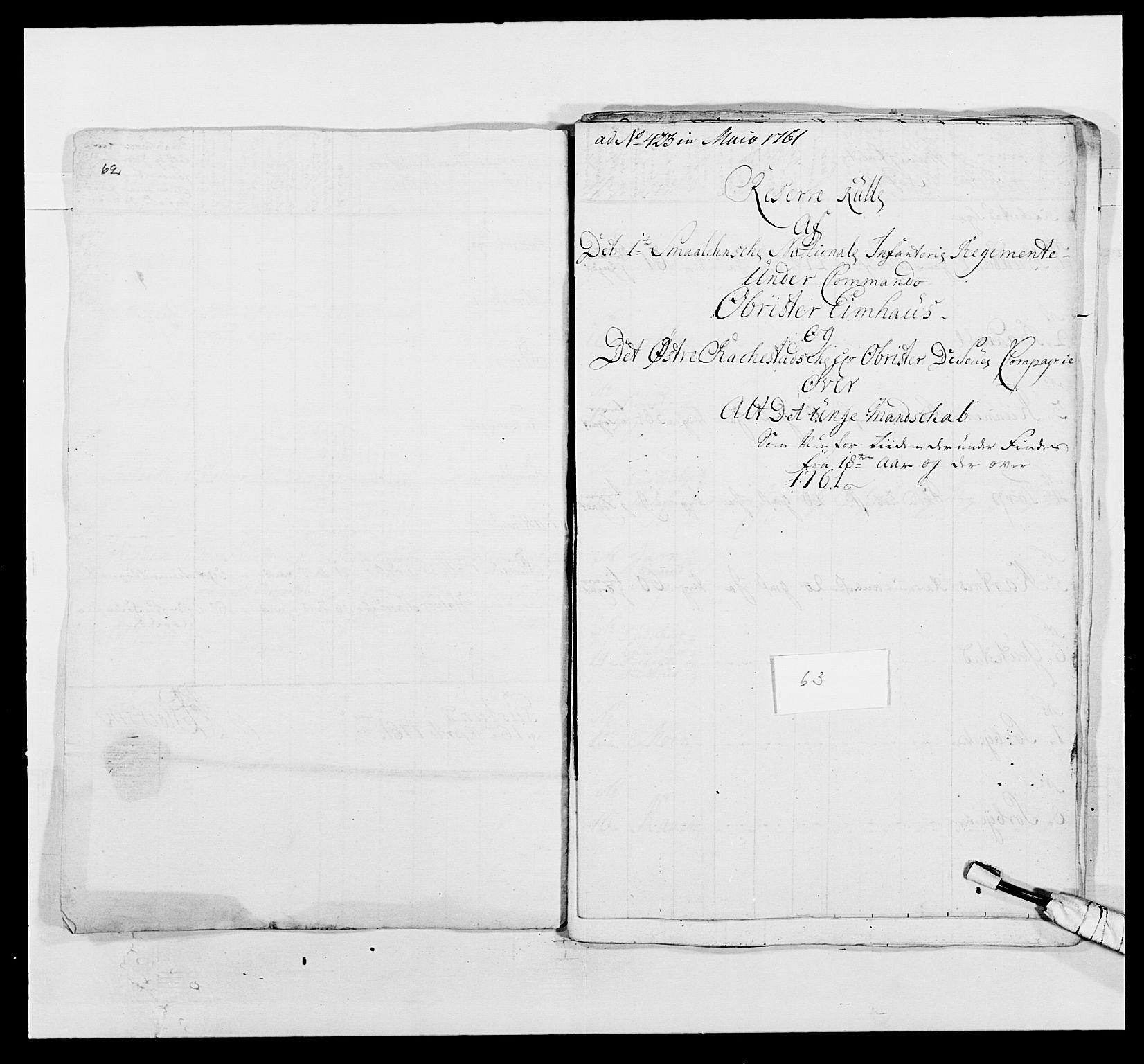 RA, Kommanderende general (KG I) med Det norske krigsdirektorium, E/Ea/L0495: 1. Smålenske regiment, 1732-1763, s. 788
