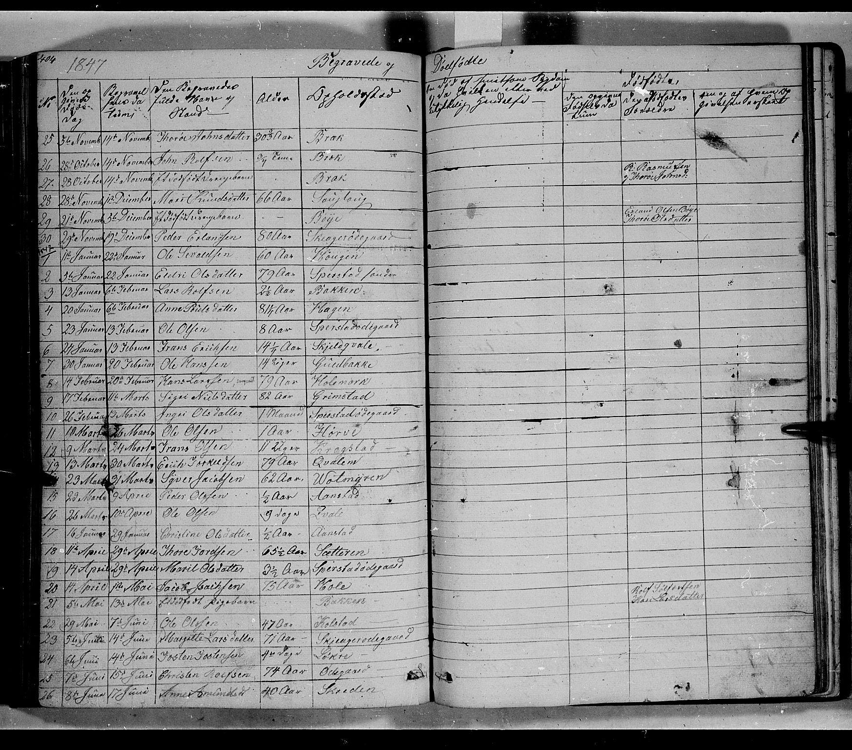 SAH, Lom prestekontor, L/L0004: Klokkerbok nr. 4, 1845-1864, s. 404-405