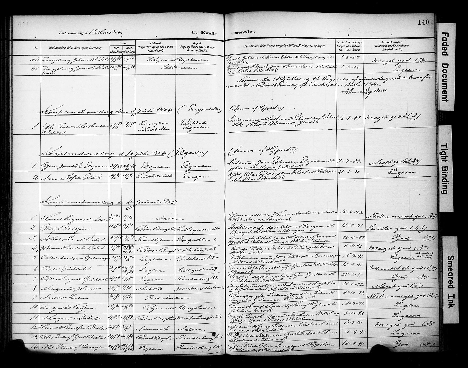 SAT, Ministerialprotokoller, klokkerbøker og fødselsregistre - Sør-Trøndelag, 681/L0936: Ministerialbok nr. 681A14, 1899-1908, s. 140