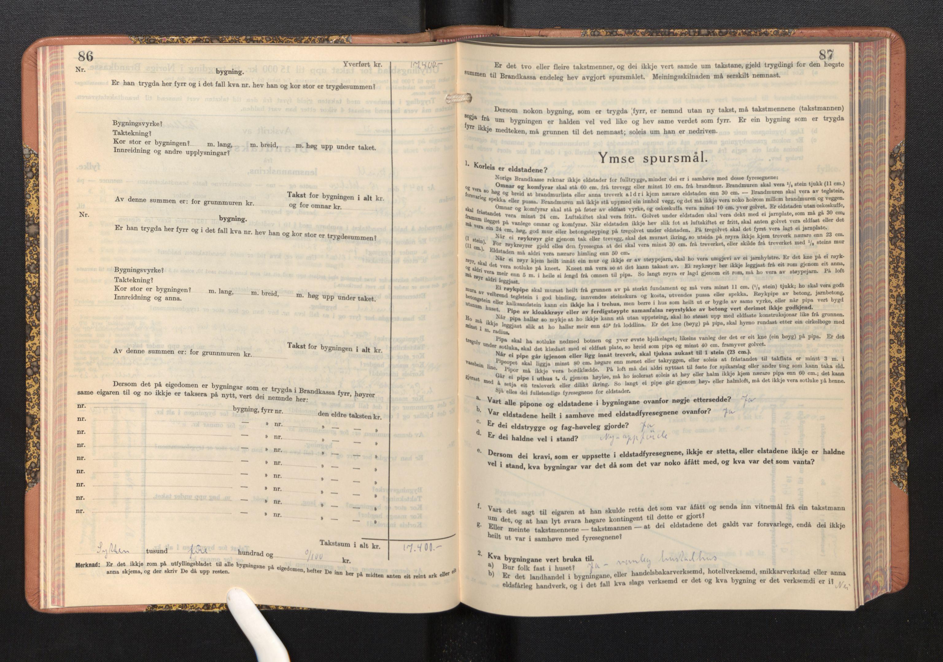 SAB, Lensmannen i Askvoll, 0012/L0005: Branntakstprotokoll, skjematakst, 1940-1949, s. 86-87