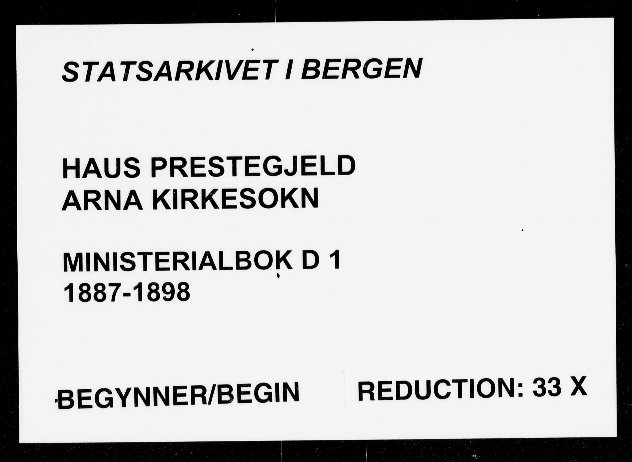 SAB, Haus sokneprestembete, H/Haa: Ministerialbok nr. D 1, 1887-1898