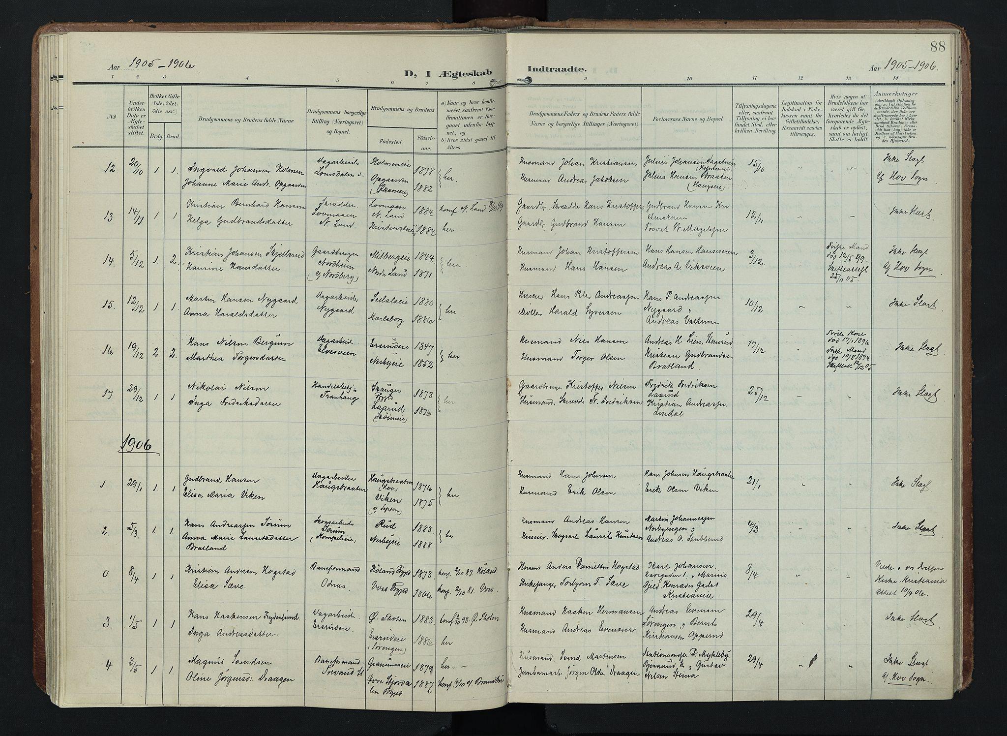 SAH, Søndre Land prestekontor, K/L0005: Ministerialbok nr. 5, 1905-1914, s. 88