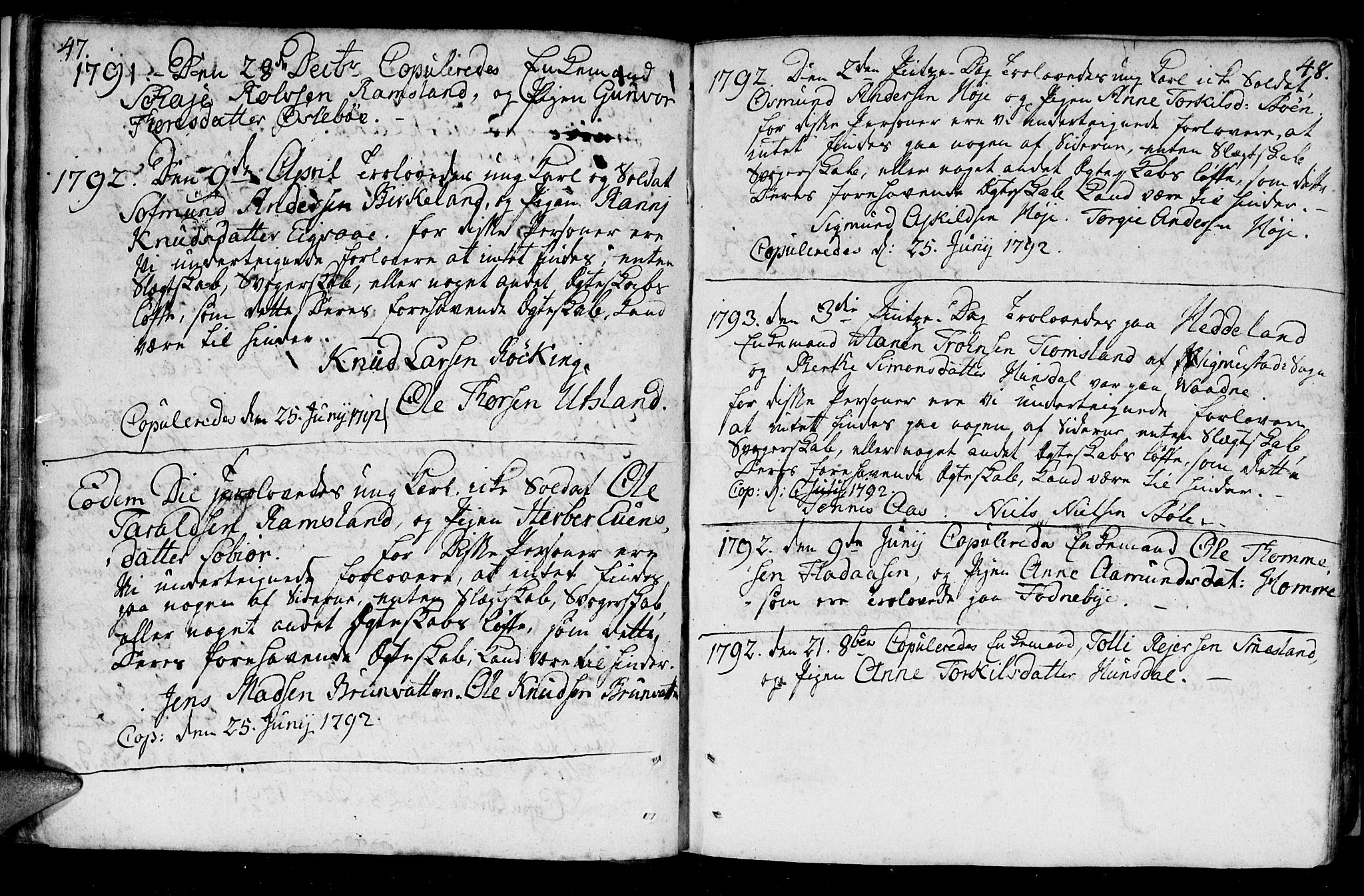 SAK, Holum sokneprestkontor, F/Fa/Fac/L0001: Ministerialbok nr. A 1, 1773-1820, s. 47-48