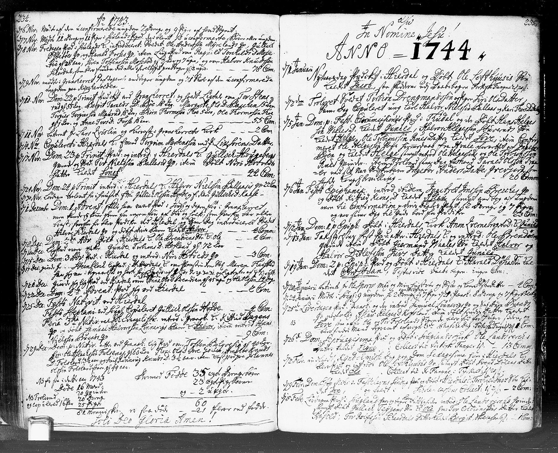 SAKO, Hjartdal kirkebøker, F/Fa/L0002: Ministerialbok nr. I 2, 1716-1754, s. 234-235