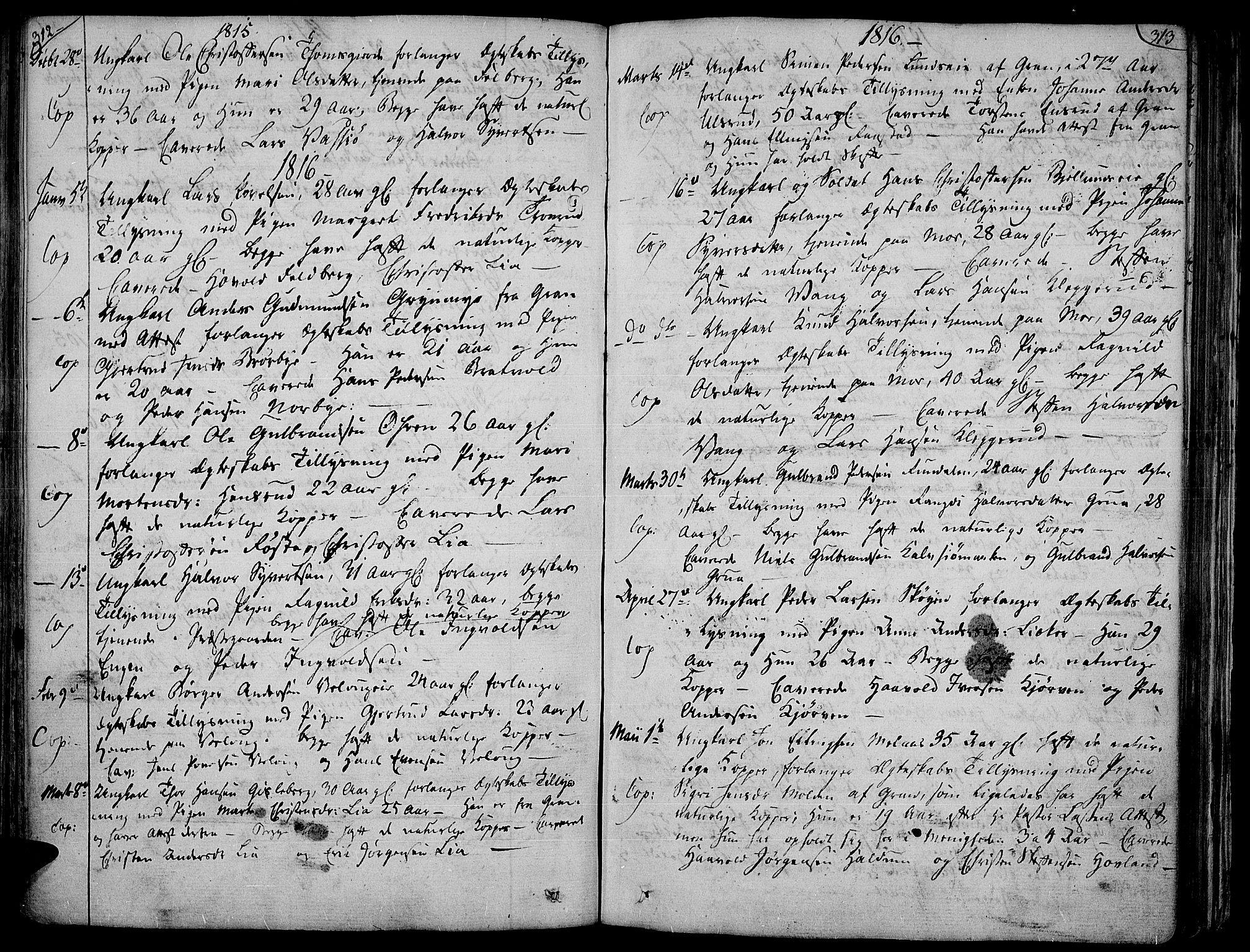 SAH, Jevnaker prestekontor, Ministerialbok nr. 4, 1800-1861, s. 312-313