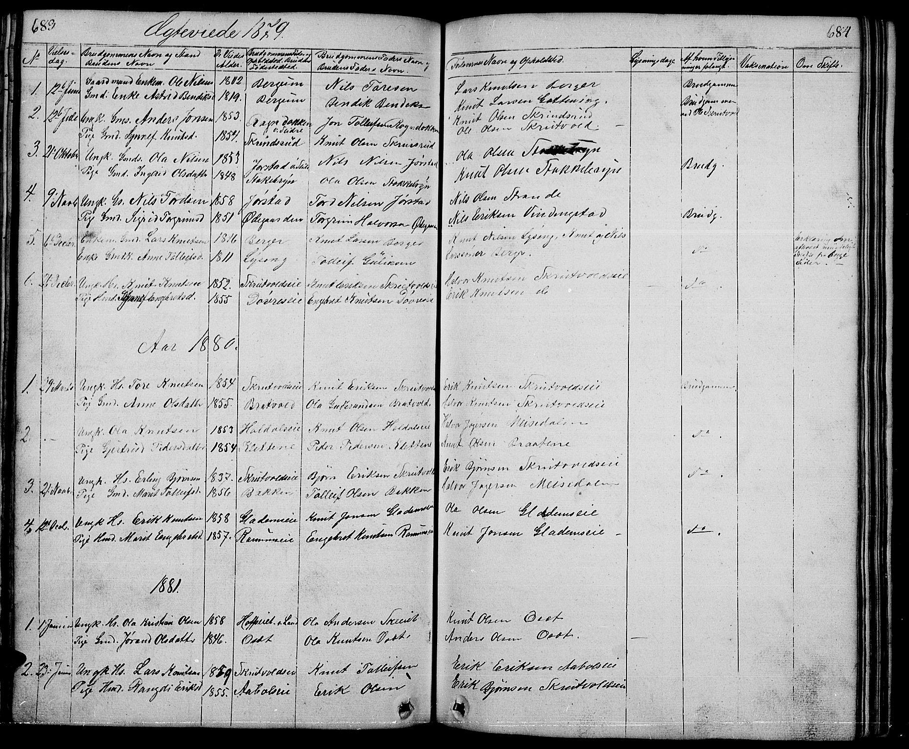 SAH, Nord-Aurdal prestekontor, Klokkerbok nr. 1, 1834-1887, s. 683-684
