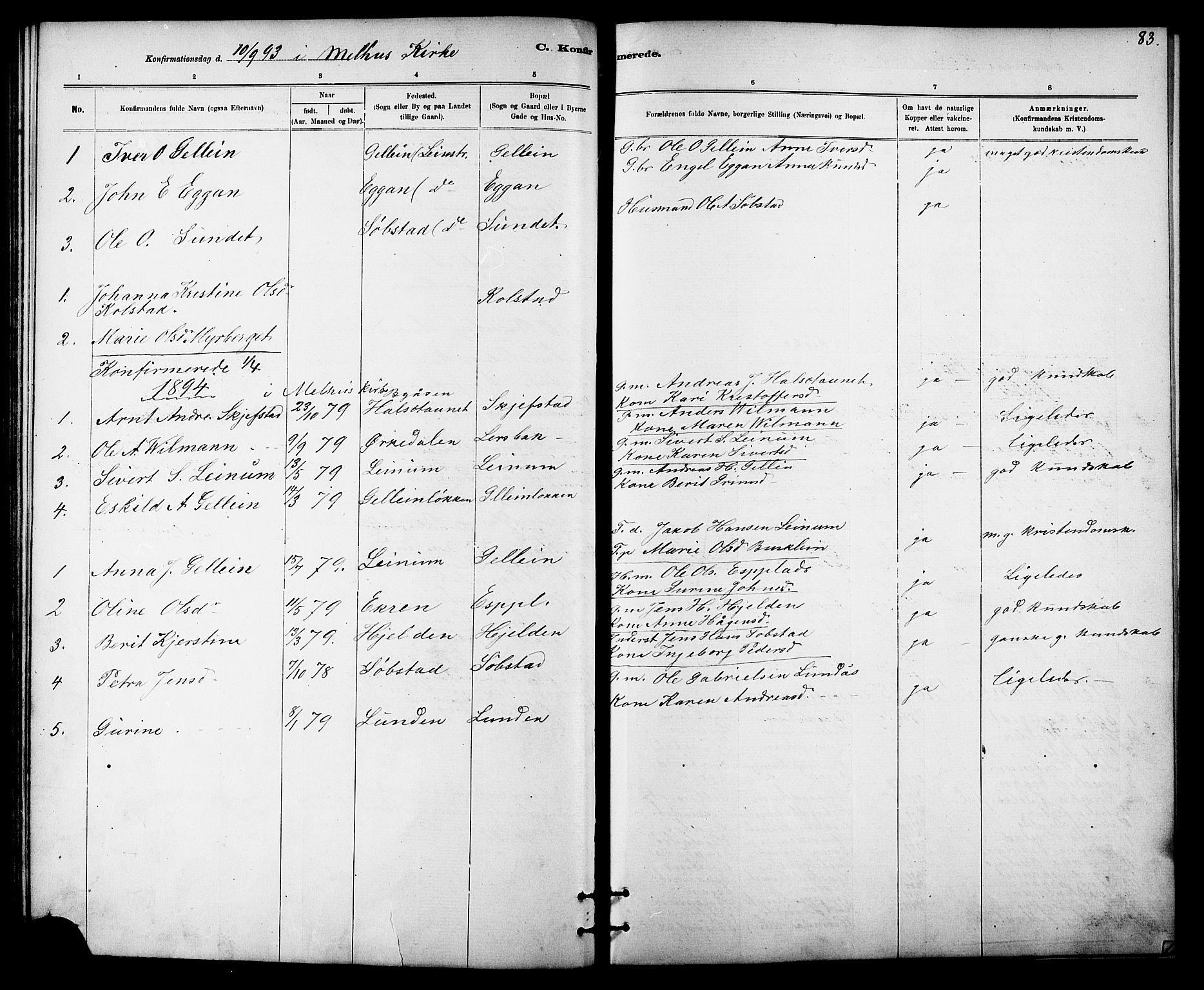 SAT, Ministerialprotokoller, klokkerbøker og fødselsregistre - Sør-Trøndelag, 613/L0395: Klokkerbok nr. 613C03, 1887-1909, s. 83