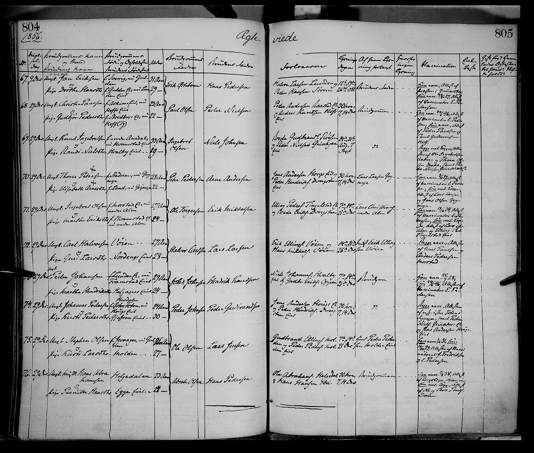 SAH, Gran prestekontor, Ministerialbok nr. 12, 1856-1874, s. 804-805