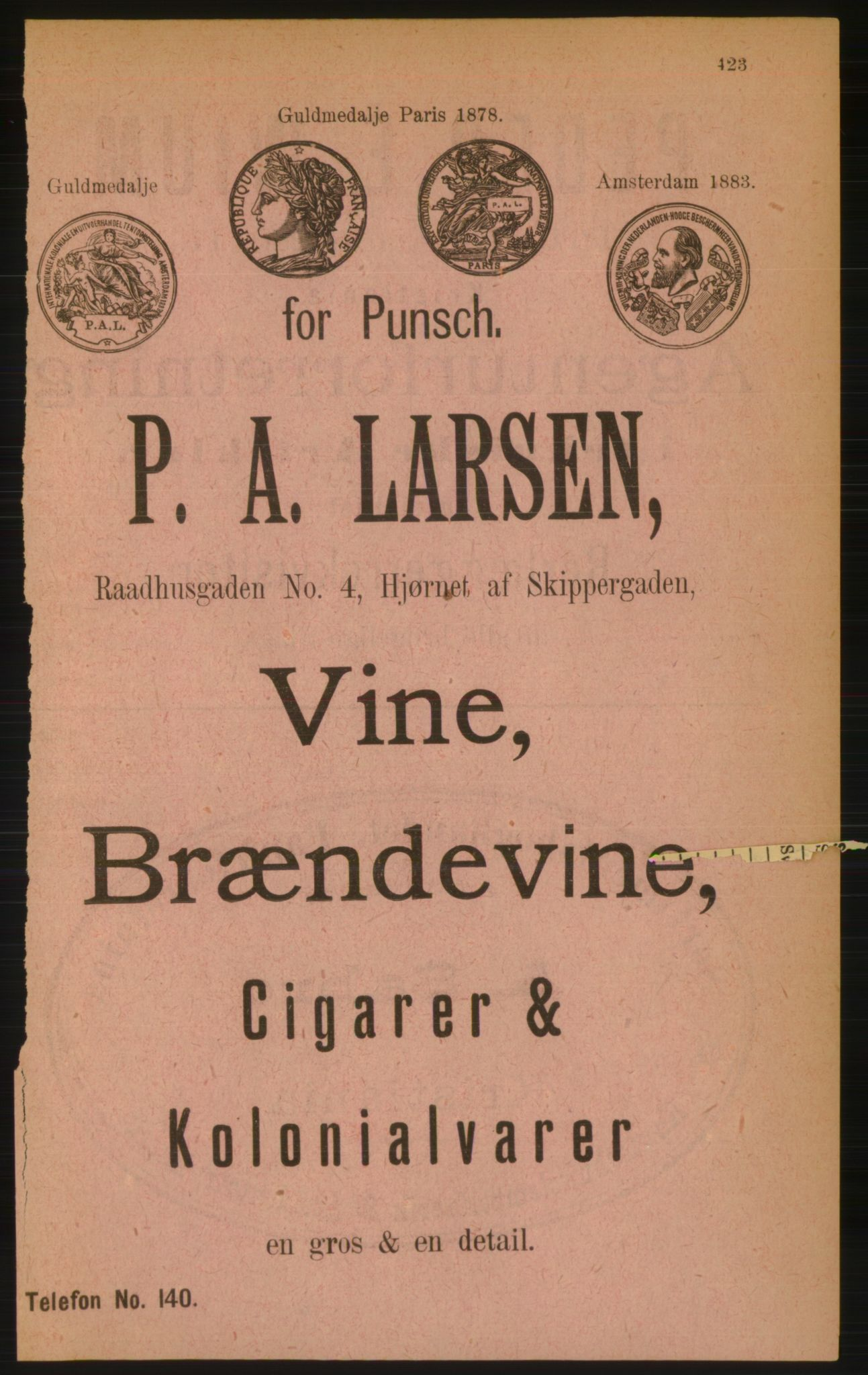 RA, Kristiania adressebok (publikasjon)*, 1889, s. 423