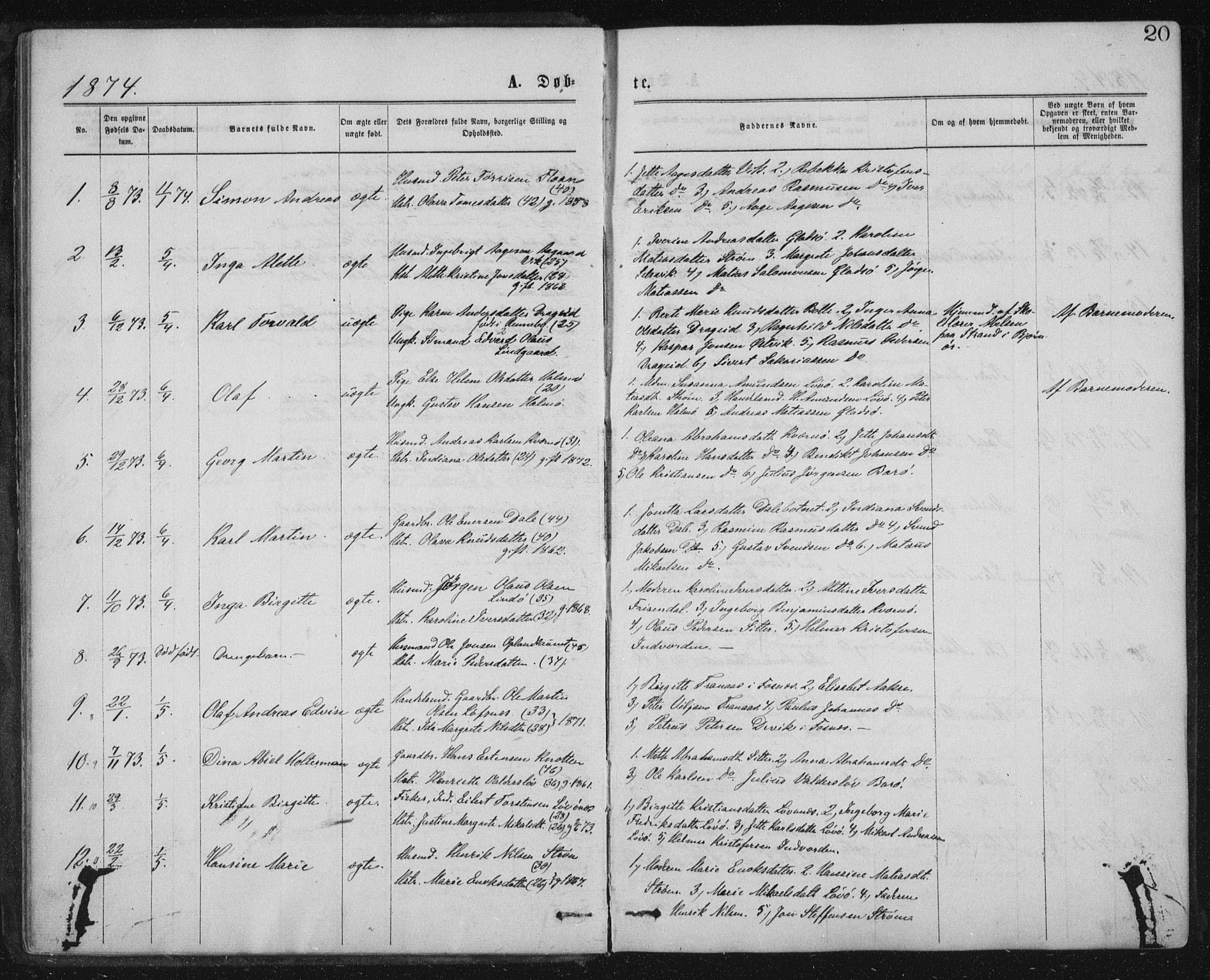 SAT, Ministerialprotokoller, klokkerbøker og fødselsregistre - Nord-Trøndelag, 771/L0596: Ministerialbok nr. 771A03, 1870-1884, s. 20