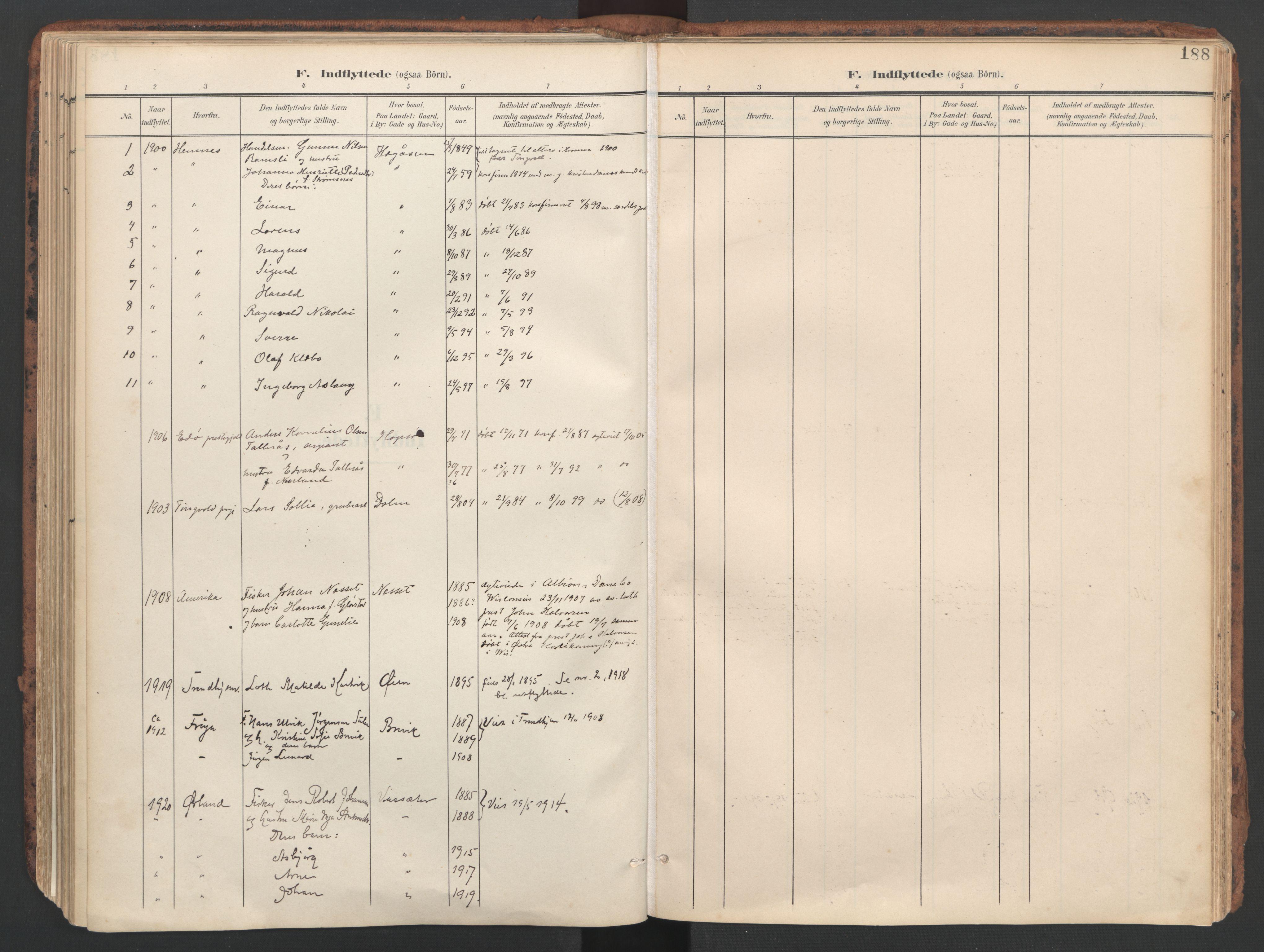 SAT, Ministerialprotokoller, klokkerbøker og fødselsregistre - Sør-Trøndelag, 634/L0537: Ministerialbok nr. 634A13, 1896-1922, s. 188