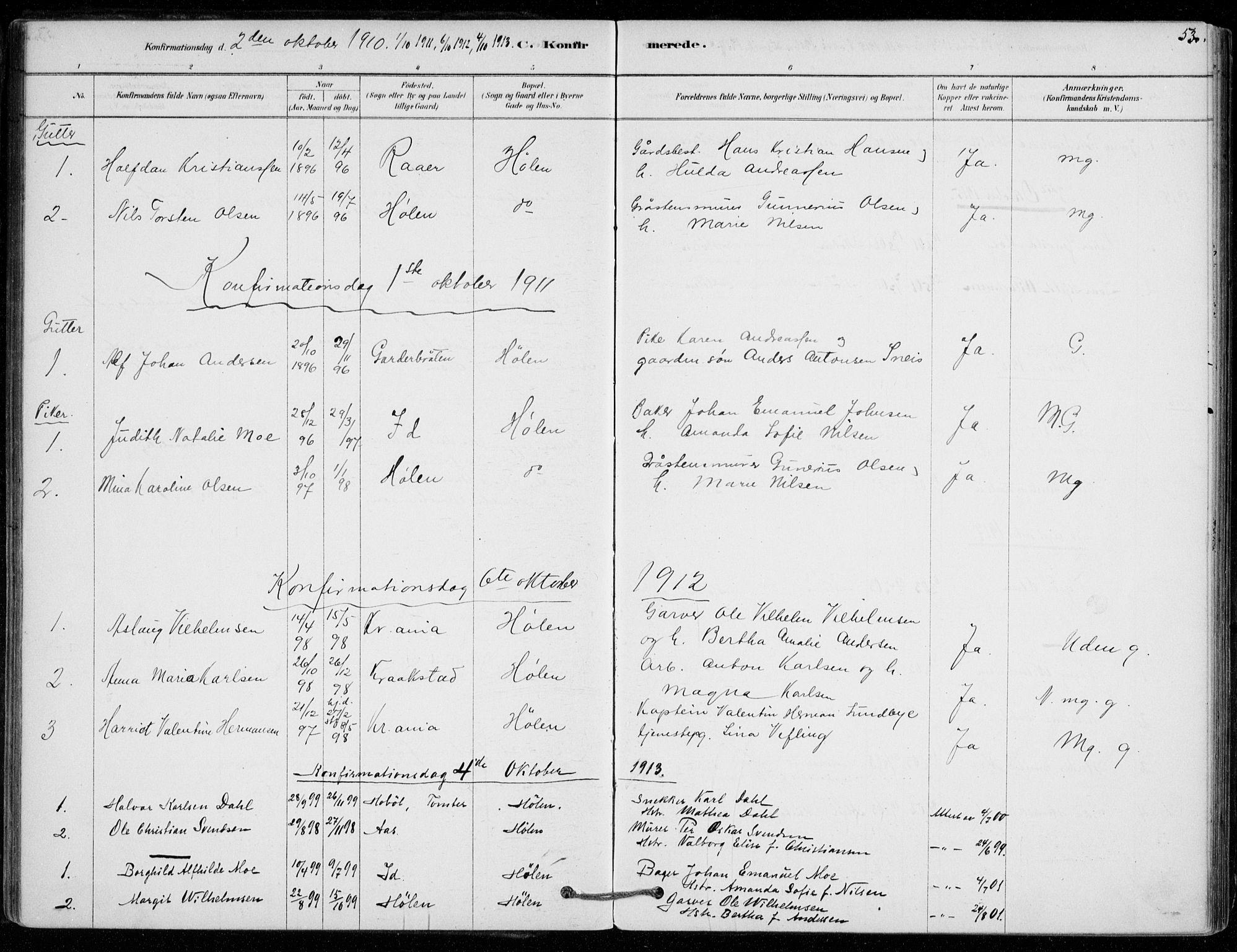 SAO, Vestby prestekontor Kirkebøker, F/Fe/L0001: Ministerialbok nr. V 1, 1878-1931, s. 53