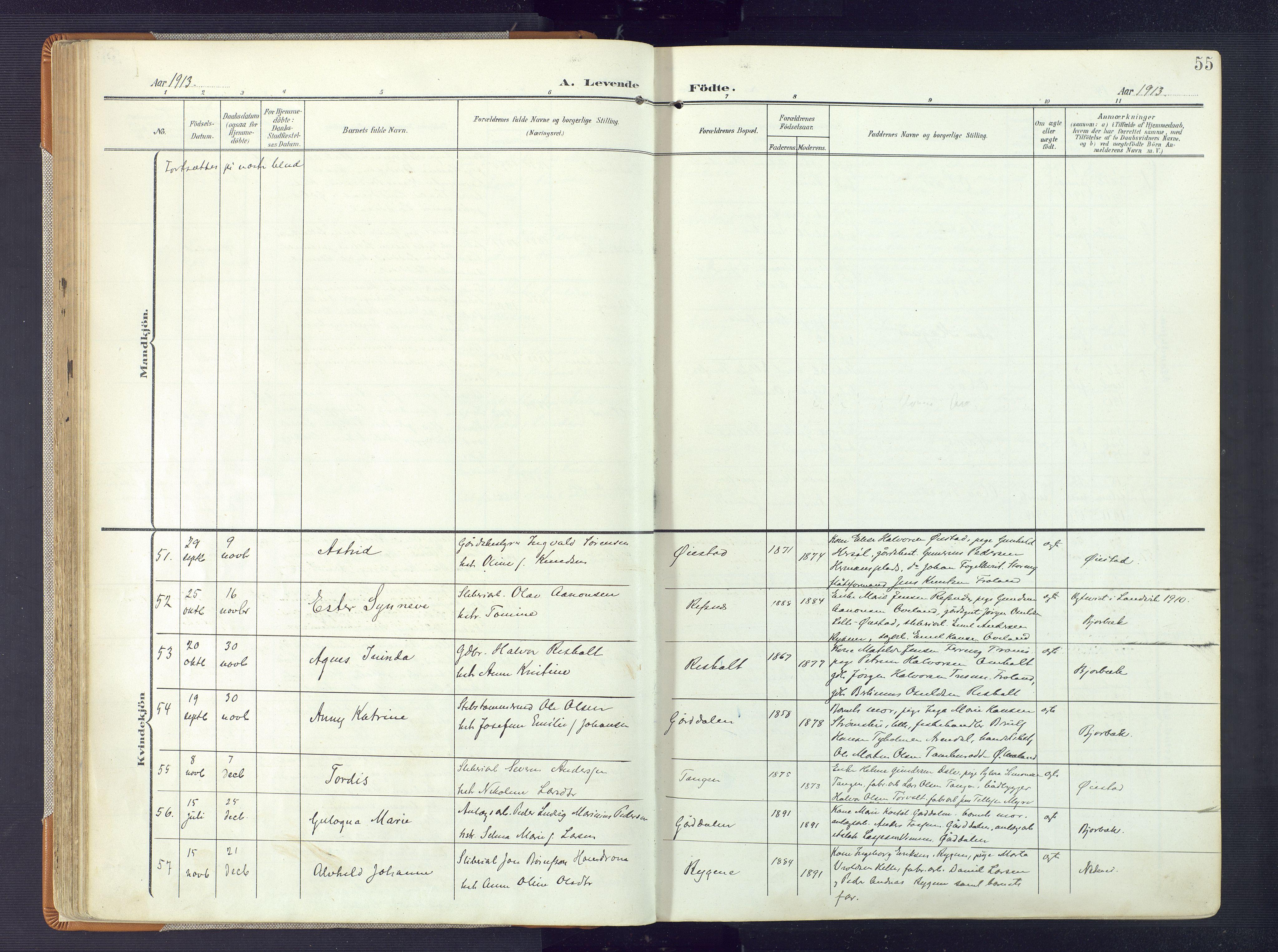 SAK, Øyestad sokneprestkontor, F/Fa/L0019: Ministerialbok nr. A 19, 1908-1922, s. 55
