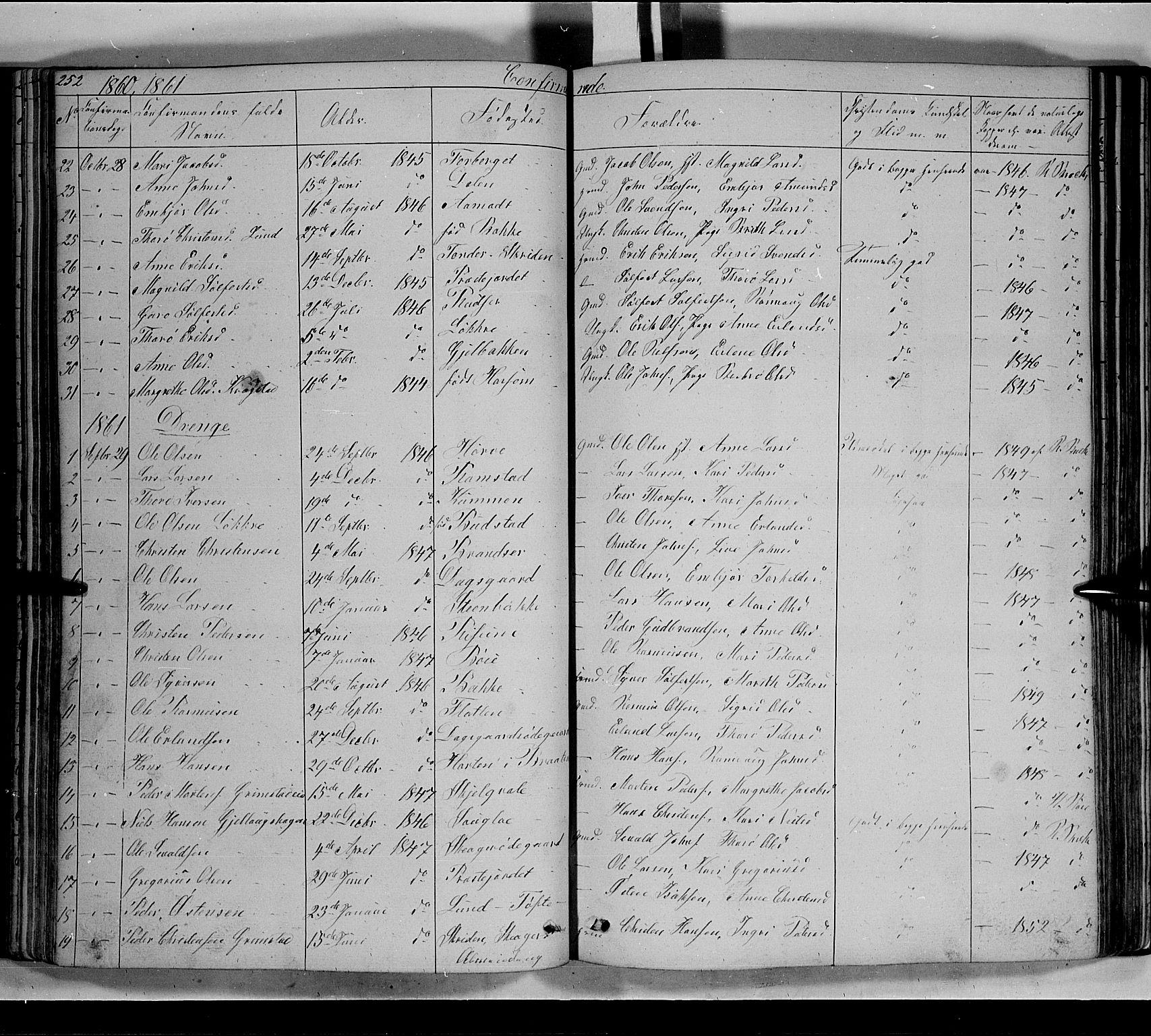 SAH, Lom prestekontor, L/L0004: Klokkerbok nr. 4, 1845-1864, s. 252-253