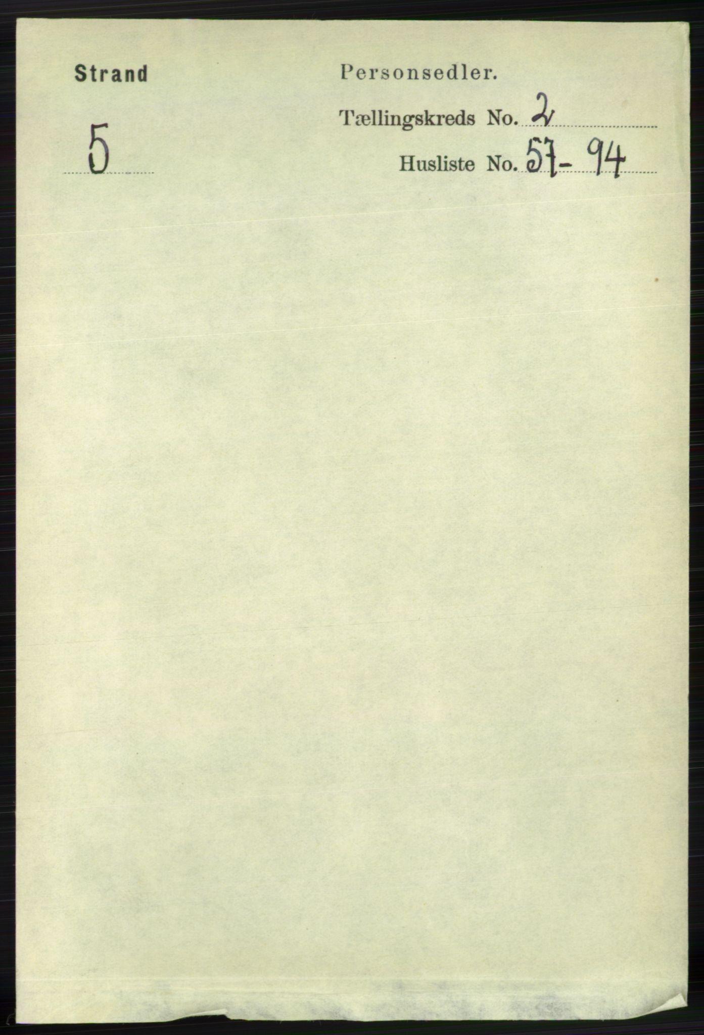 RA, Folketelling 1891 for 1130 Strand herred, 1891, s. 449