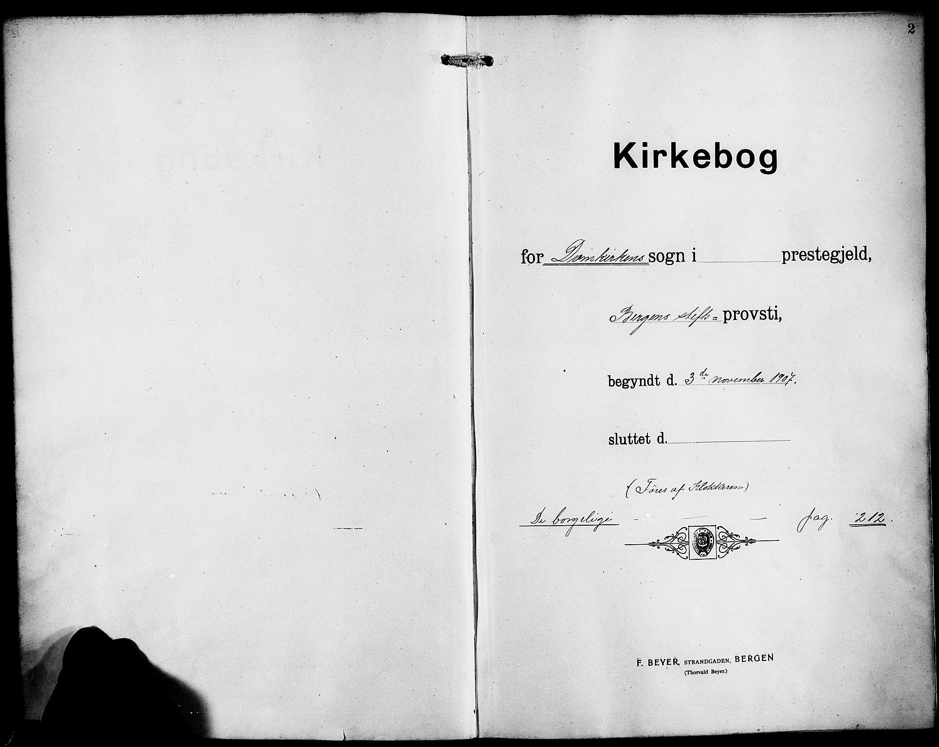 SAB, Domkirken Sokneprestembete, H/Hab/L0033: Klokkerbok nr. D 5, 1907-1924, s. 2