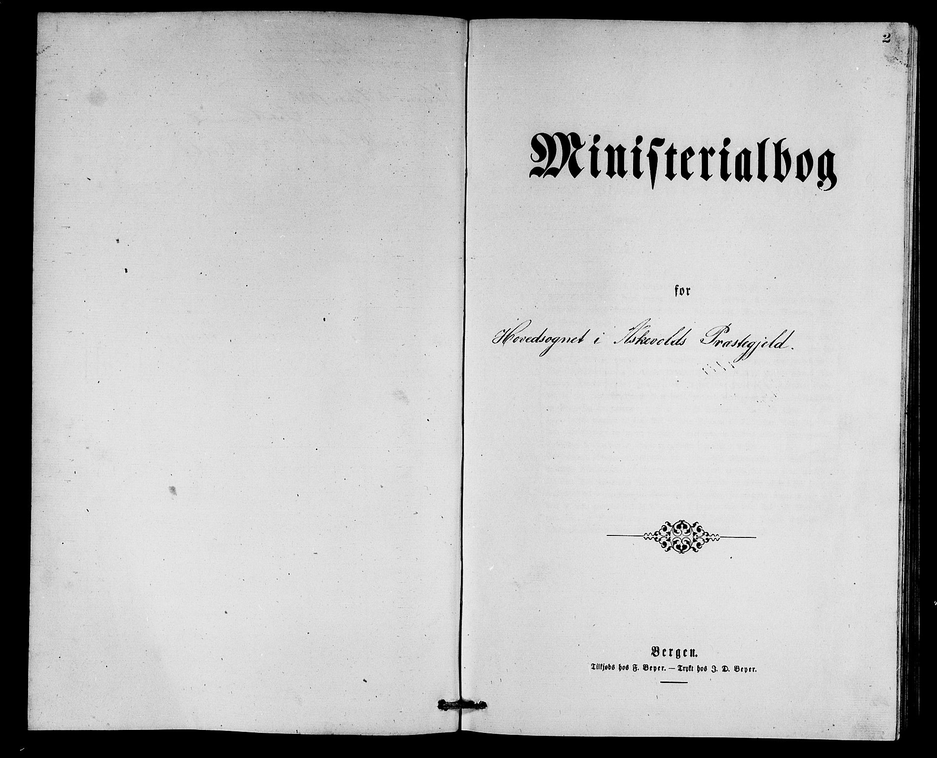 SAB, Askvoll Sokneprestembete, Klokkerbok nr. A 2, 1873-1885, s. 2