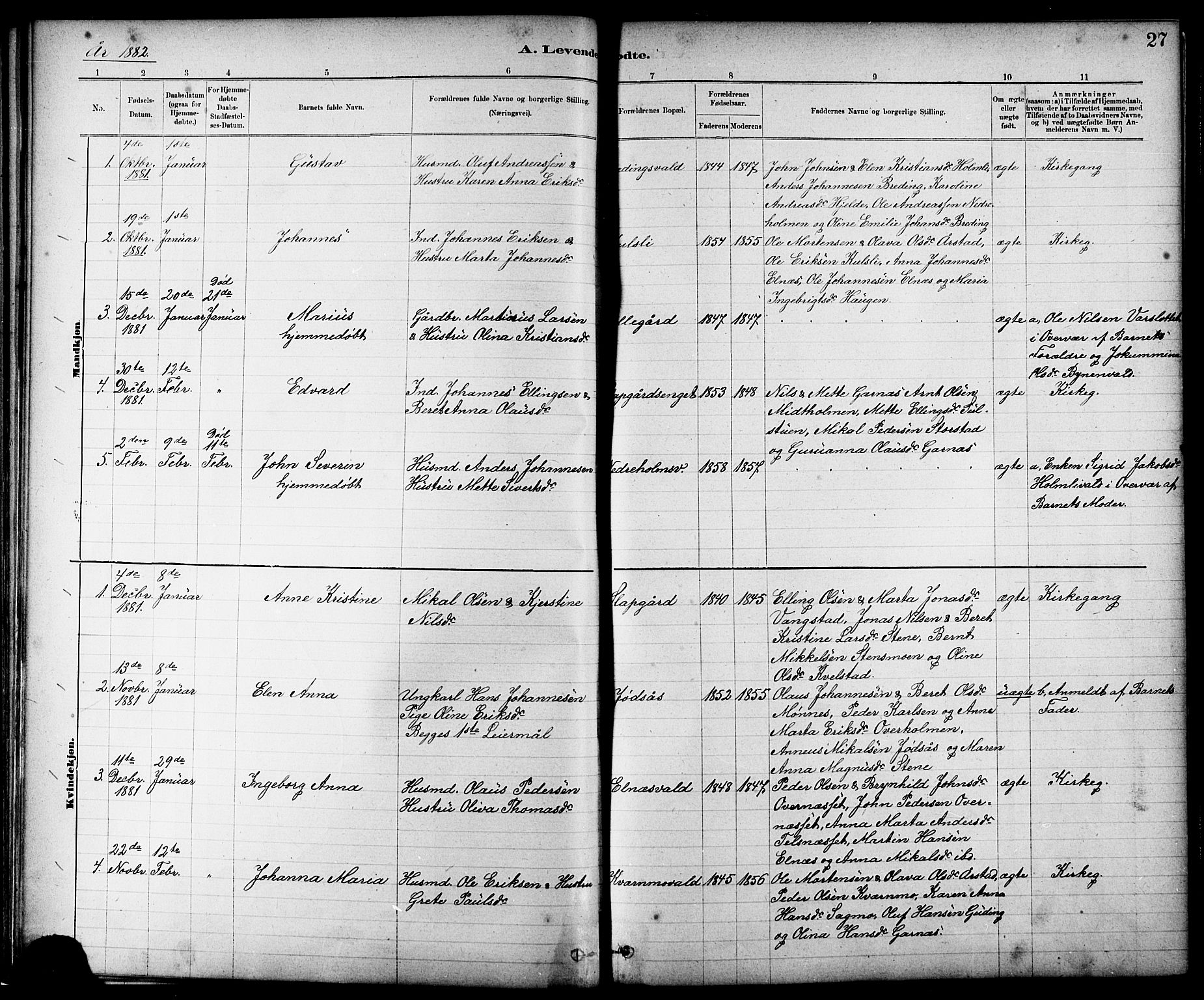 SAT, Ministerialprotokoller, klokkerbøker og fødselsregistre - Nord-Trøndelag, 724/L0267: Klokkerbok nr. 724C03, 1879-1898, s. 27