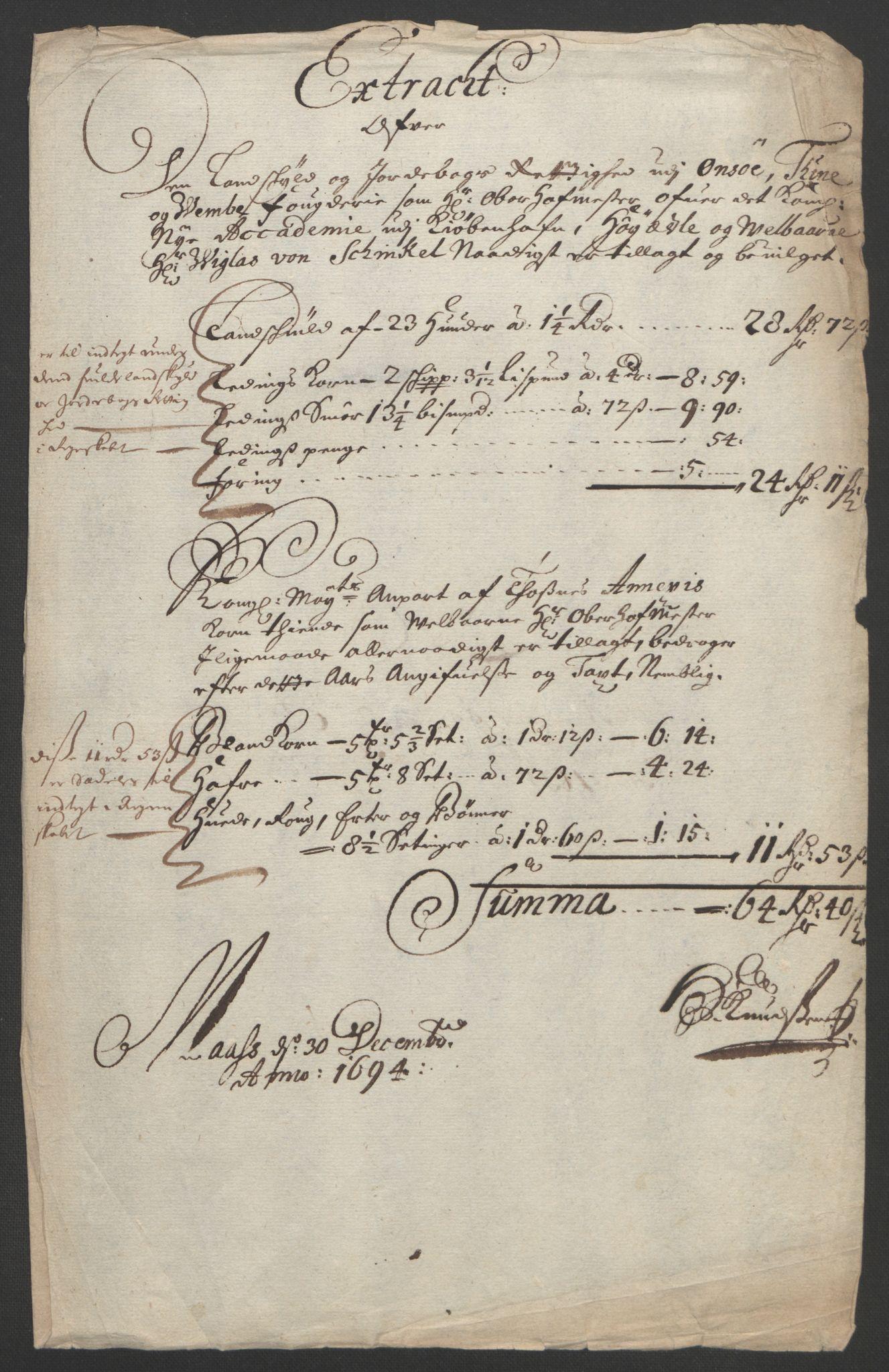 RA, Rentekammeret inntil 1814, Reviderte regnskaper, Fogderegnskap, R03/L0121: Fogderegnskap Onsøy, Tune, Veme og Åbygge fogderi, 1694, s. 96