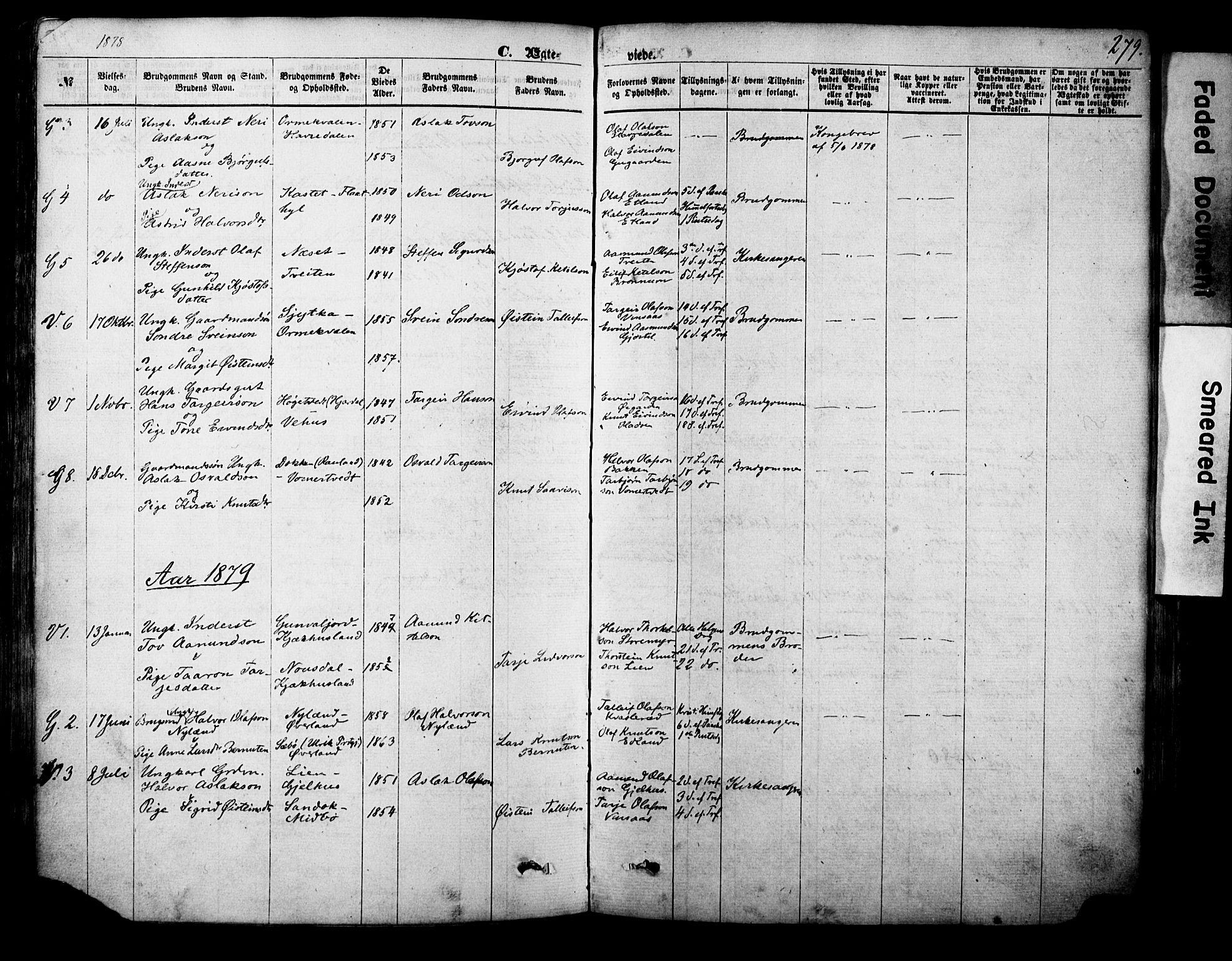 SAKO, Vinje kirkebøker, F/Fa/L0005: Ministerialbok nr. I 5, 1870-1886, s. 279