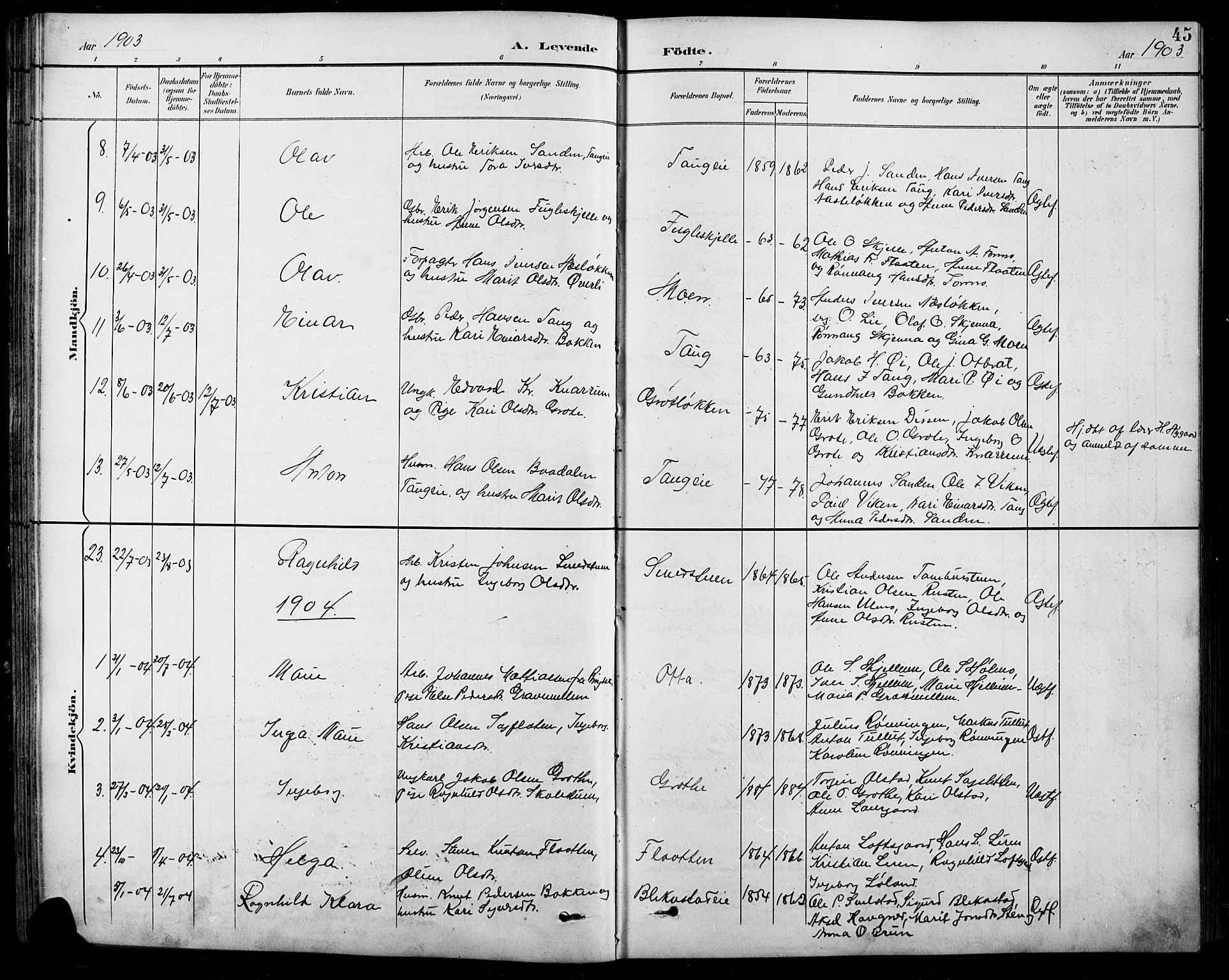 SAH, Sel prestekontor, Klokkerbok nr. 1, 1894-1923, s. 45