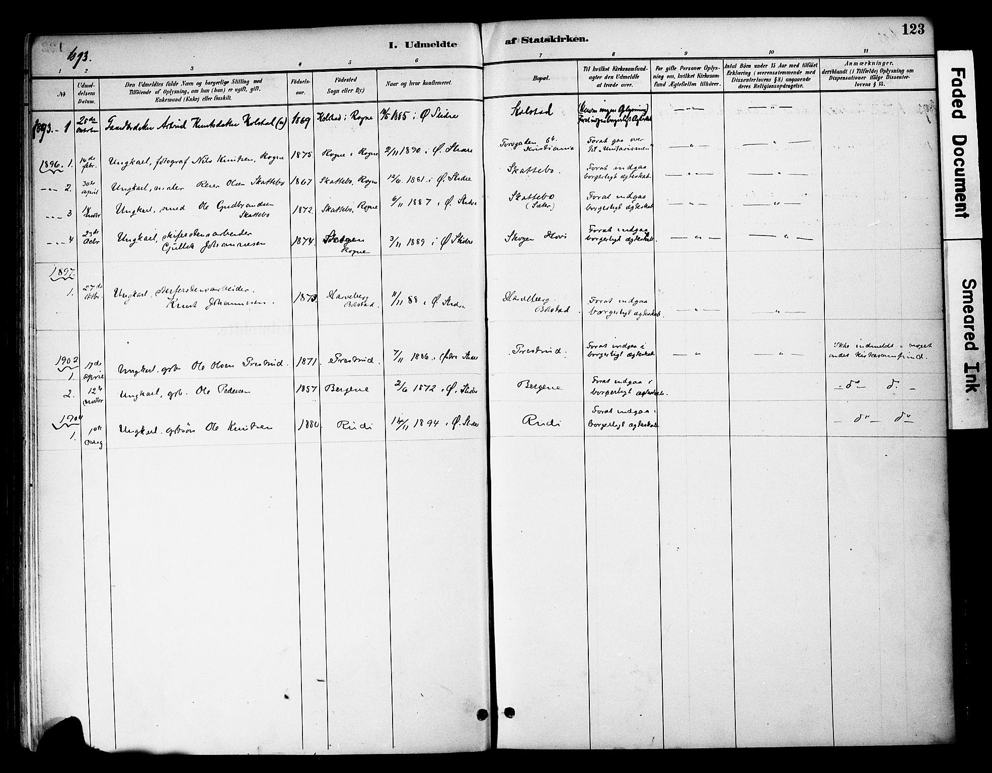 SAH, Øystre Slidre prestekontor, Ministerialbok nr. 3, 1887-1910, s. 123