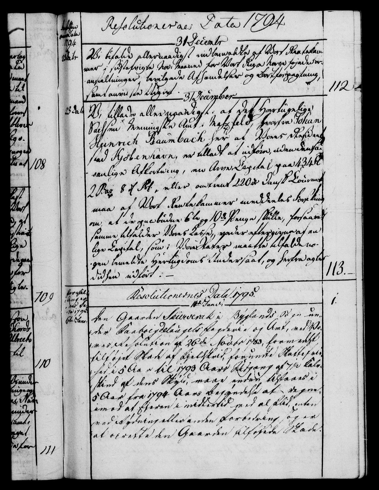 RA, Rentekammeret, Kammerkanselliet, G/Gf/Gfb/L0014: Register til norske relasjons- og resolusjonsprotokoller (merket RK 52.109), 1794-1796, s. upaginert