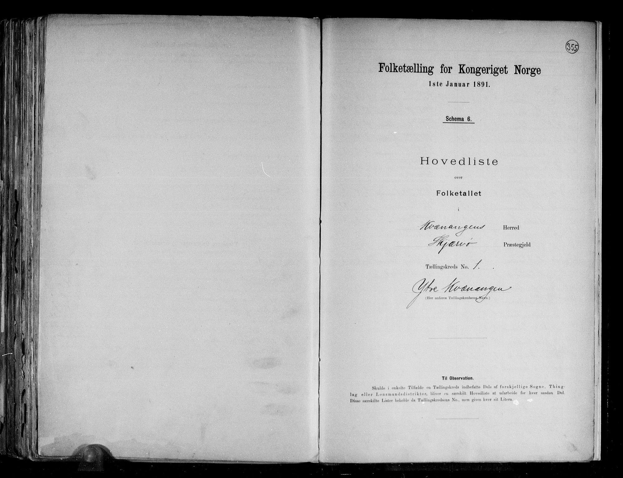 RA, Folketelling 1891 for 1943 Kvænangen herred, 1891, s. 4