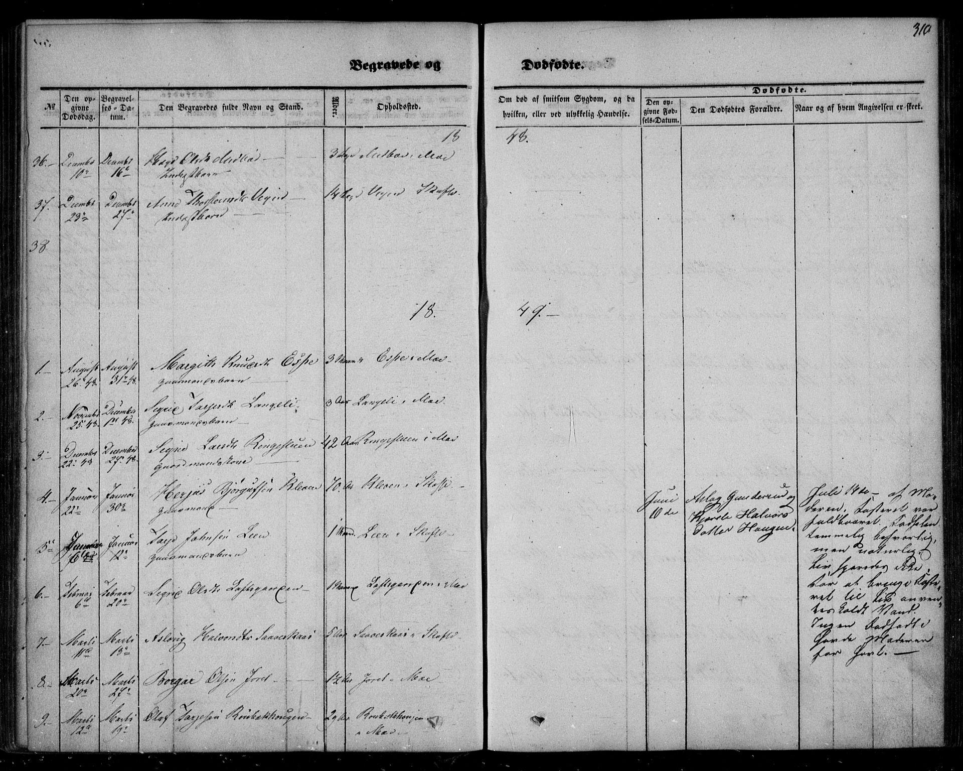 SAKO, Mo kirkebøker, F/Fa/L0005: Ministerialbok nr. I 5, 1844-1864, s. 310