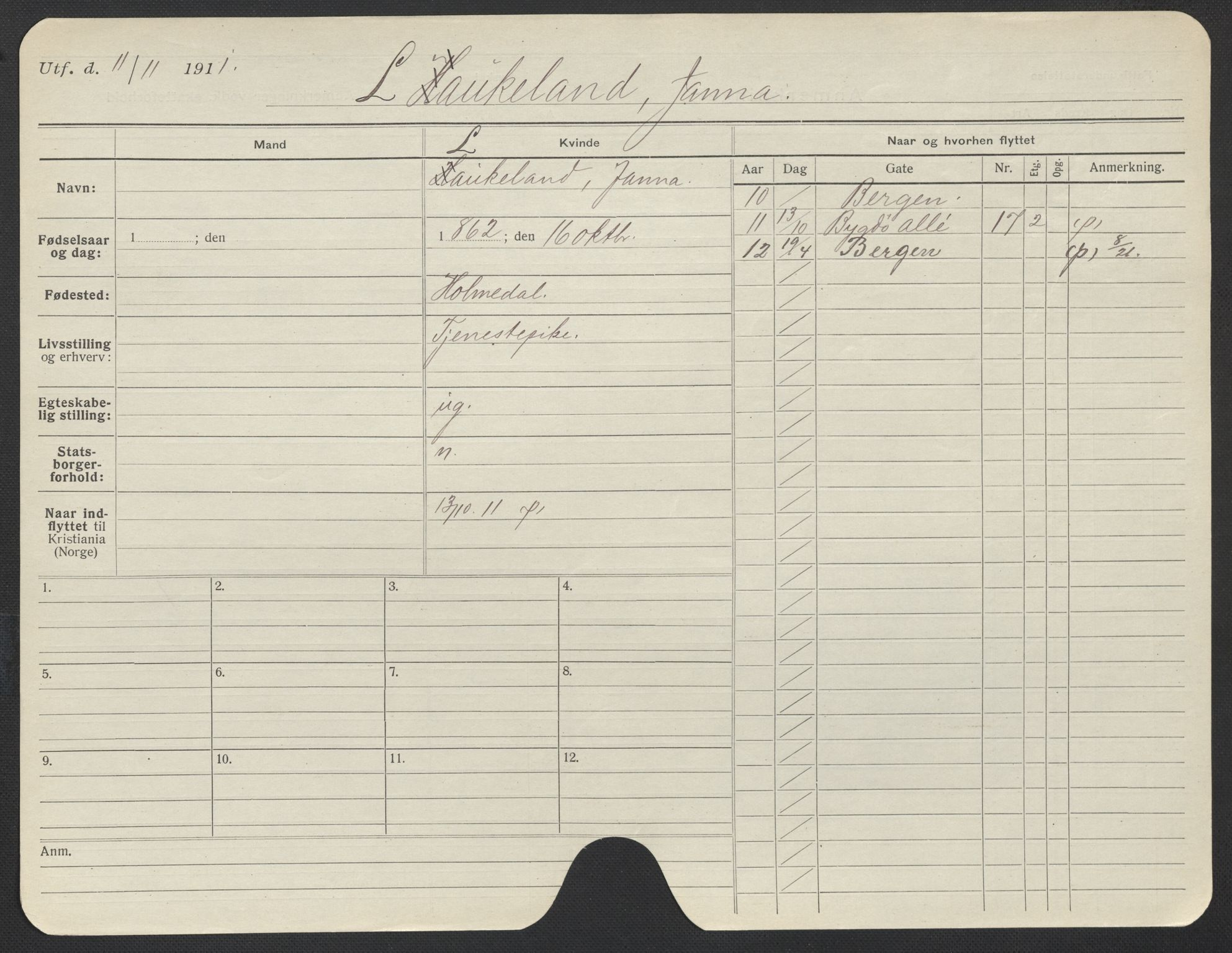 SAO, Oslo folkeregister, Registerkort, F/Fa/Fac/L0019: Kvinner, 1906-1914, s. 1176a