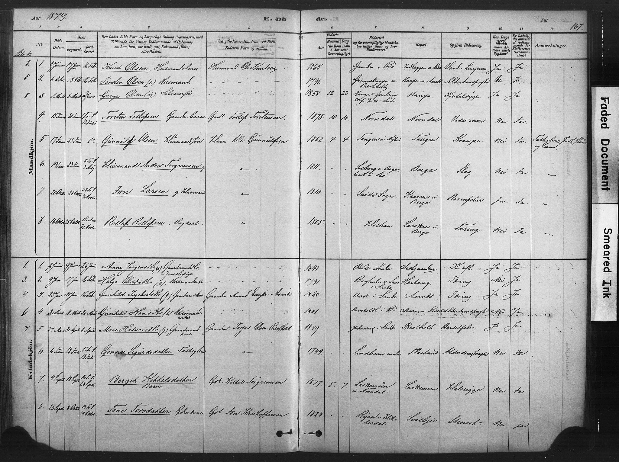 SAKO, Sauherad kirkebøker, F/Fb/L0002: Ministerialbok nr. II 2, 1878-1901, s. 167