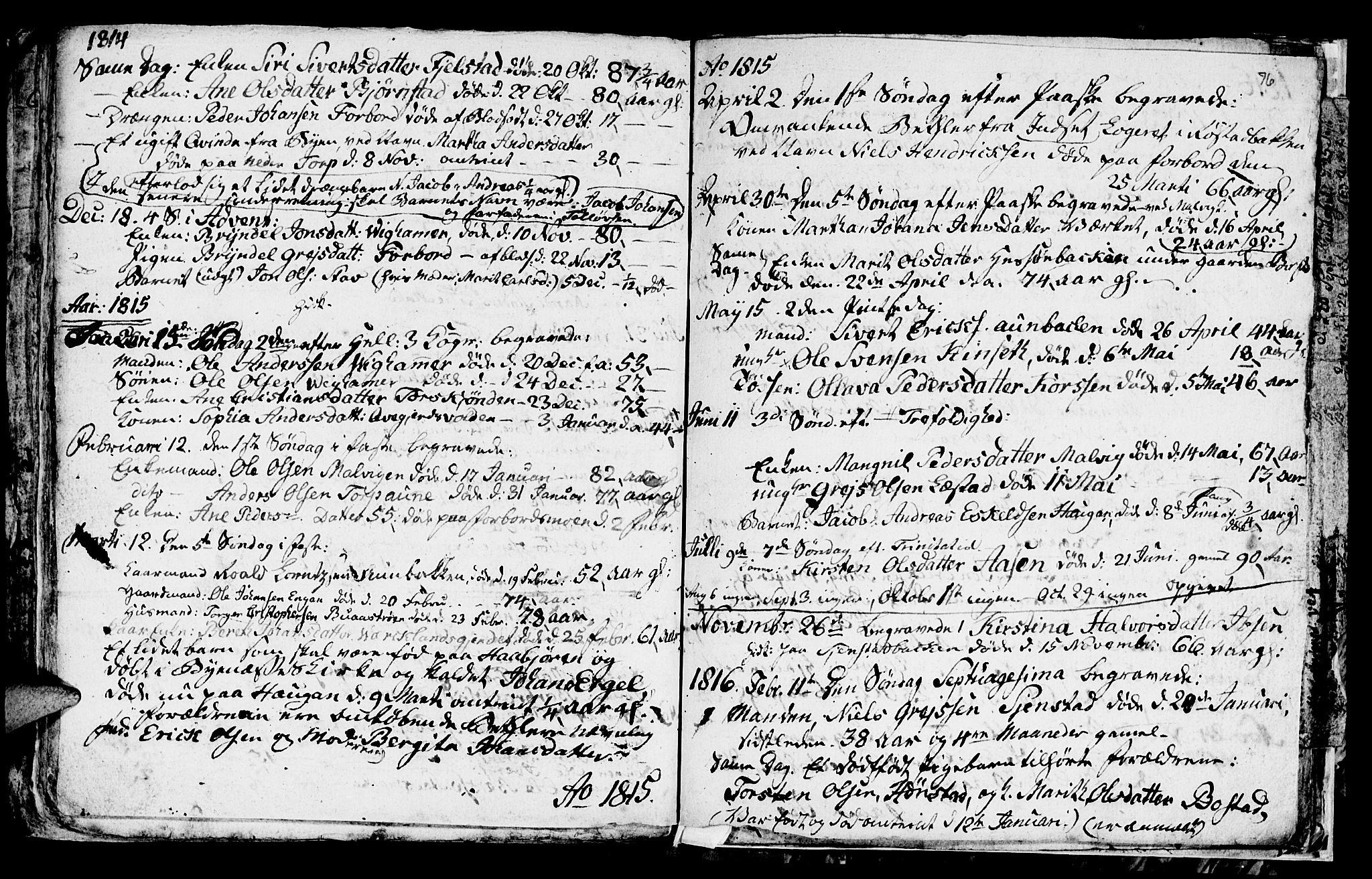 SAT, Ministerialprotokoller, klokkerbøker og fødselsregistre - Sør-Trøndelag, 616/L0419: Klokkerbok nr. 616C02, 1797-1816, s. 76