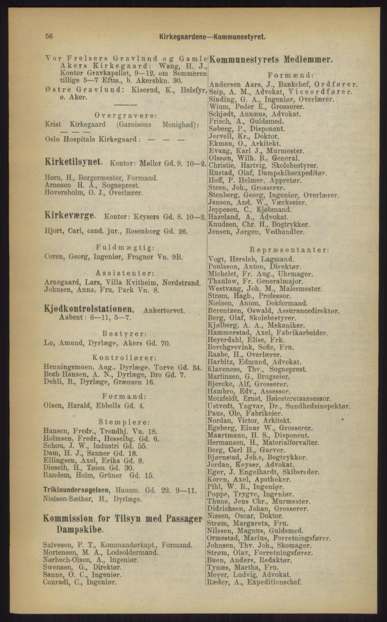 RA, Kristiania adressebok (publikasjon)*, 1903, s. 56